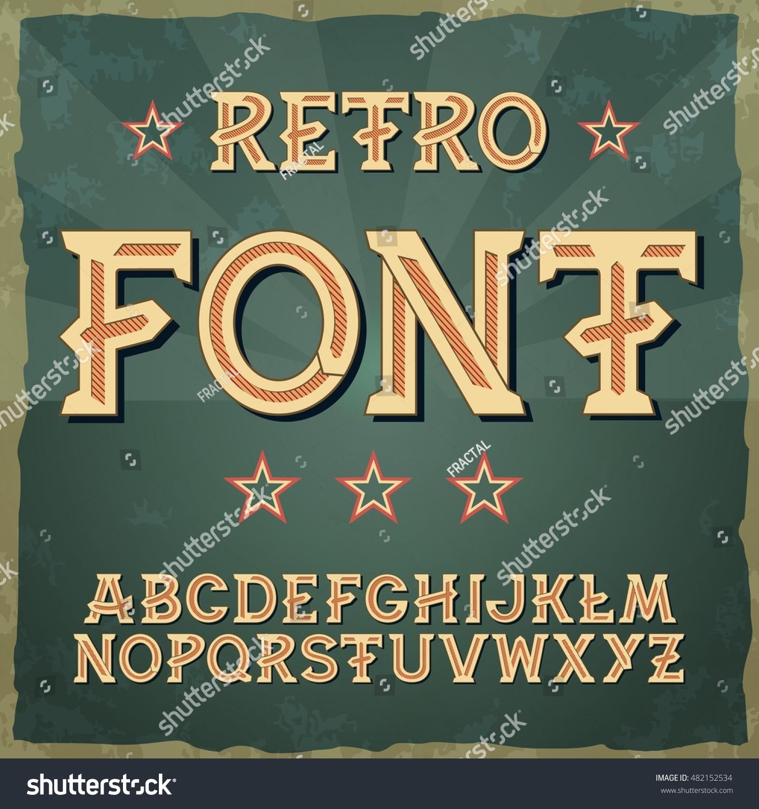 Retro military font 1945 retro type font vintage typography illustration eps10