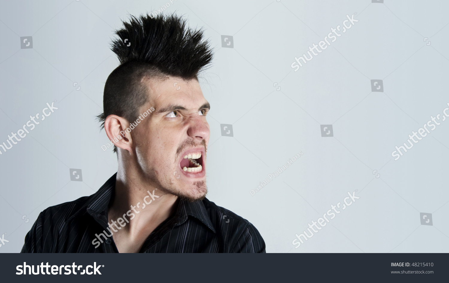 Man Super Angry Sports Mohawk Haircut Stock Photo Edit Now