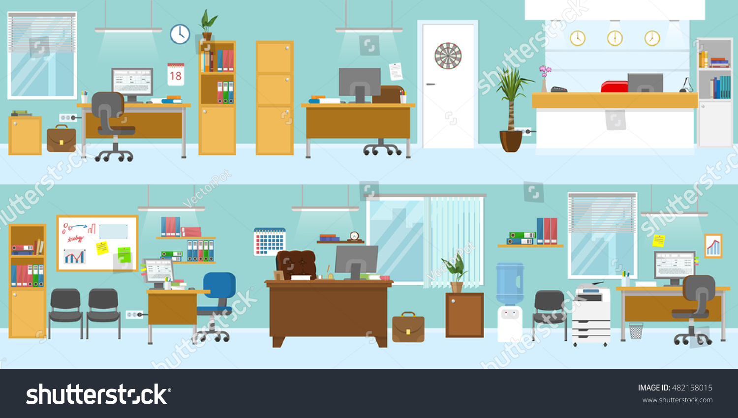 Office Interiors Template With Wooden Furniture Reception Workplace For  Boss Ceiling Light Blue Walls Isolated Vector