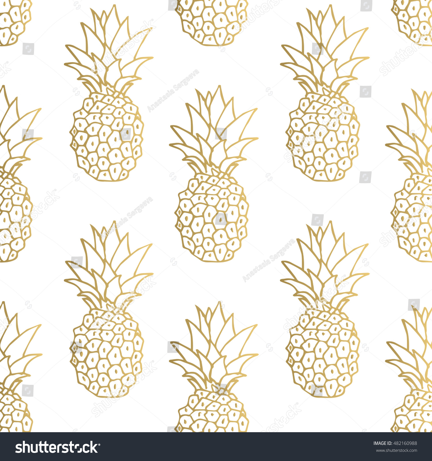 gold pineapple clipart. gold pineapple background. vector illustration. clipart