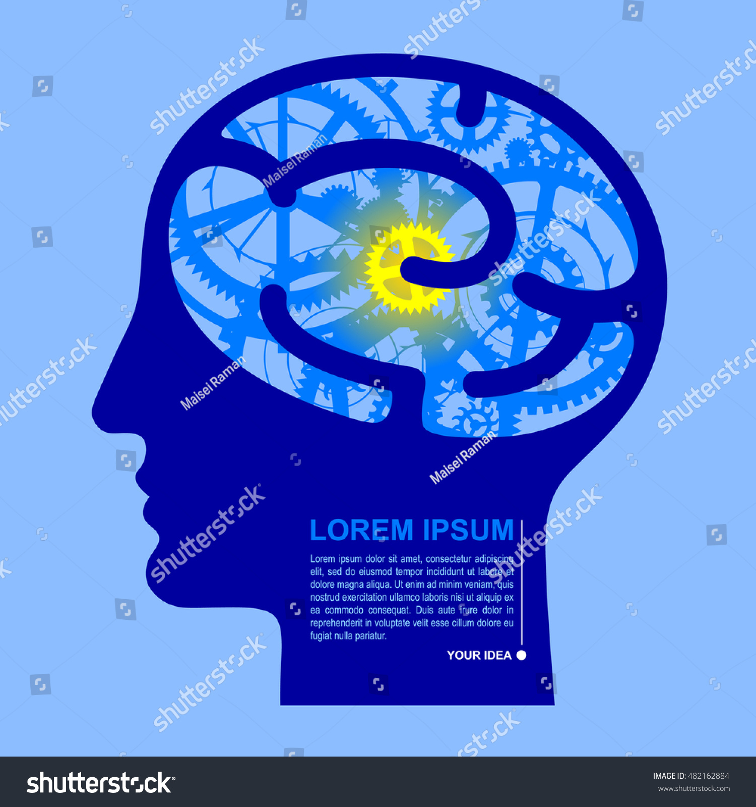 Human blue head half face brain stock vector royalty free human blue head half face with brain gears business and innovation idea concept in flat ccuart Images