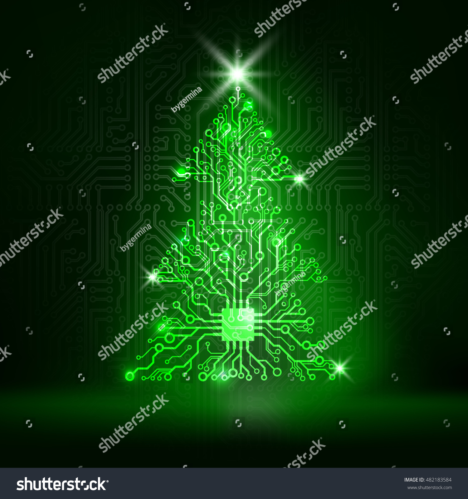 Vector Circuit Board Christmas Tree Stock Photo (Photo, Vector ...