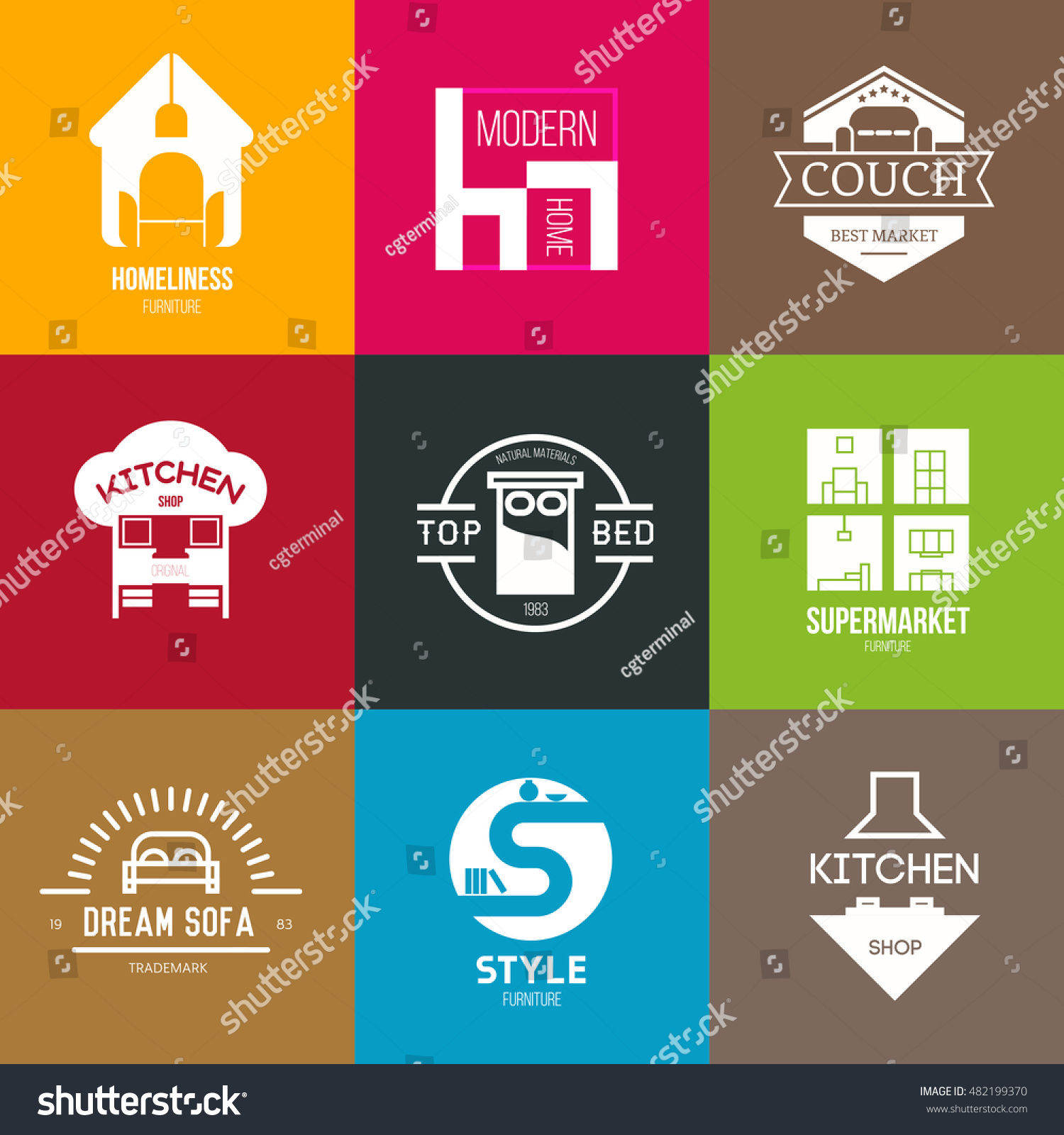 Icon Logo Template Furniture Shop Company Stock Vector Royalty Free