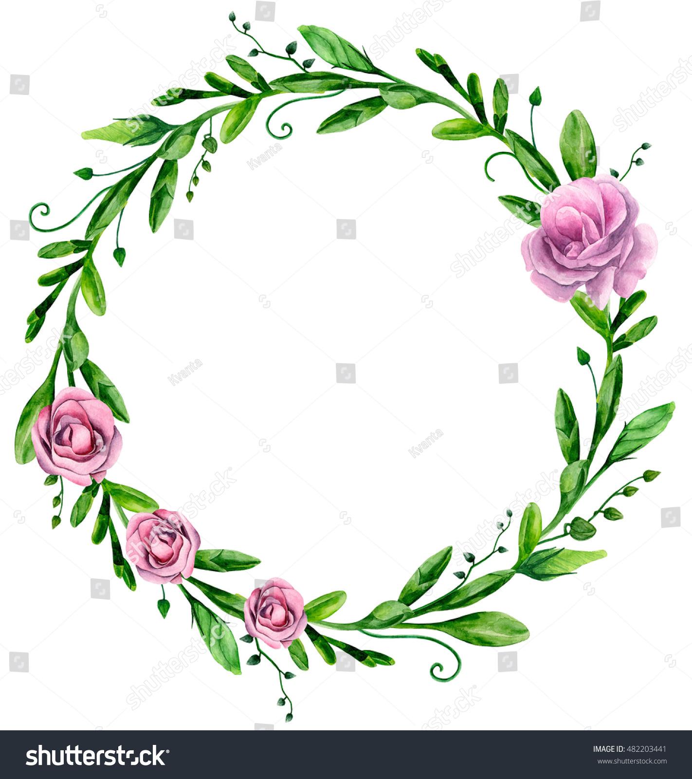 Watercolor greenery wreath flowers floral arrangement for Watercolor greenery