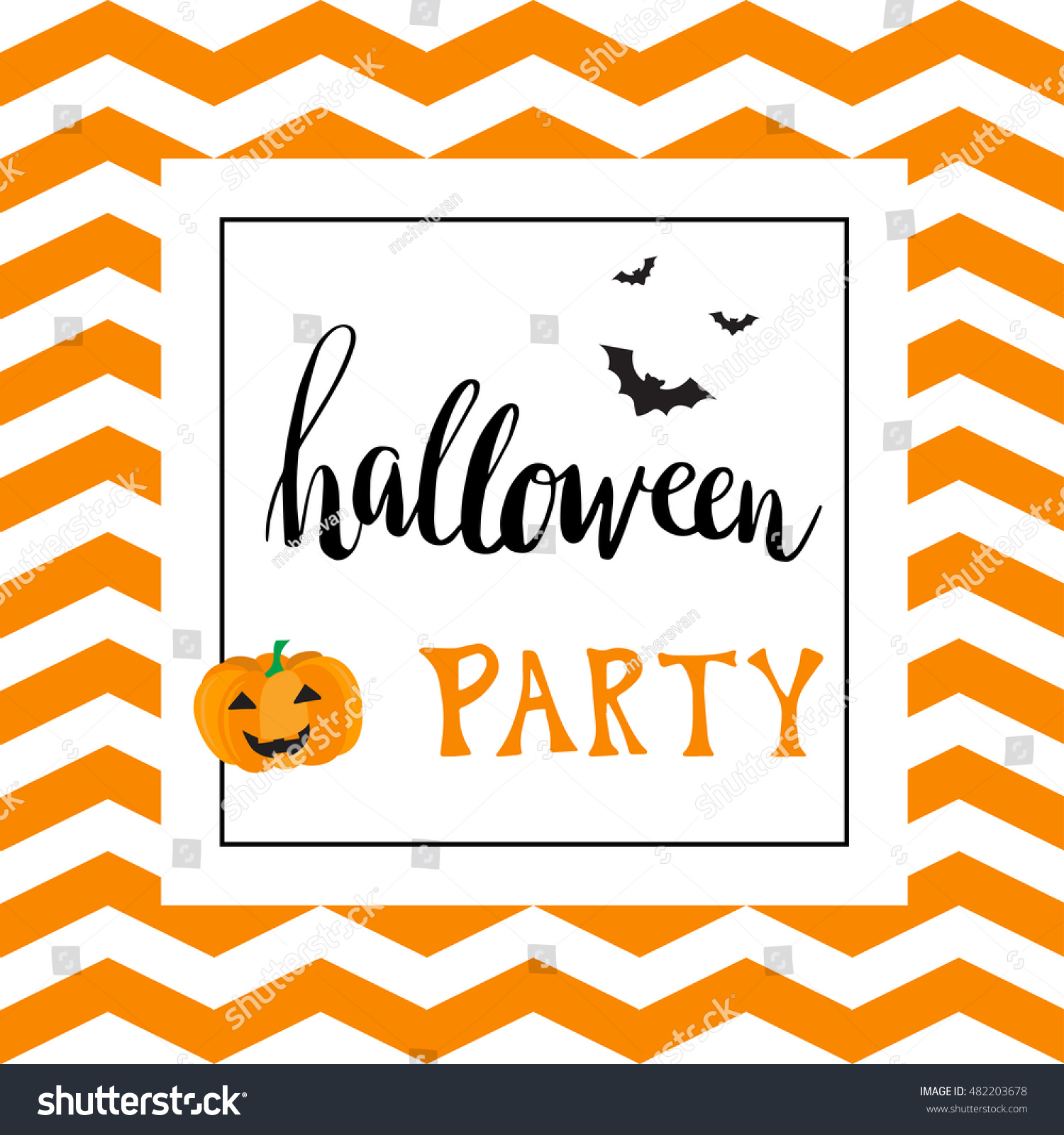 Vintage Halloween Party Invitation Card Template Stock Vector ...