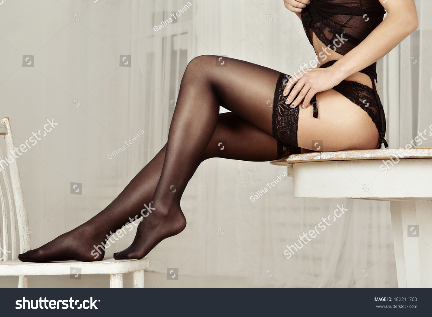 beautiful sexy lady elegant black panties stock photo (royalty free