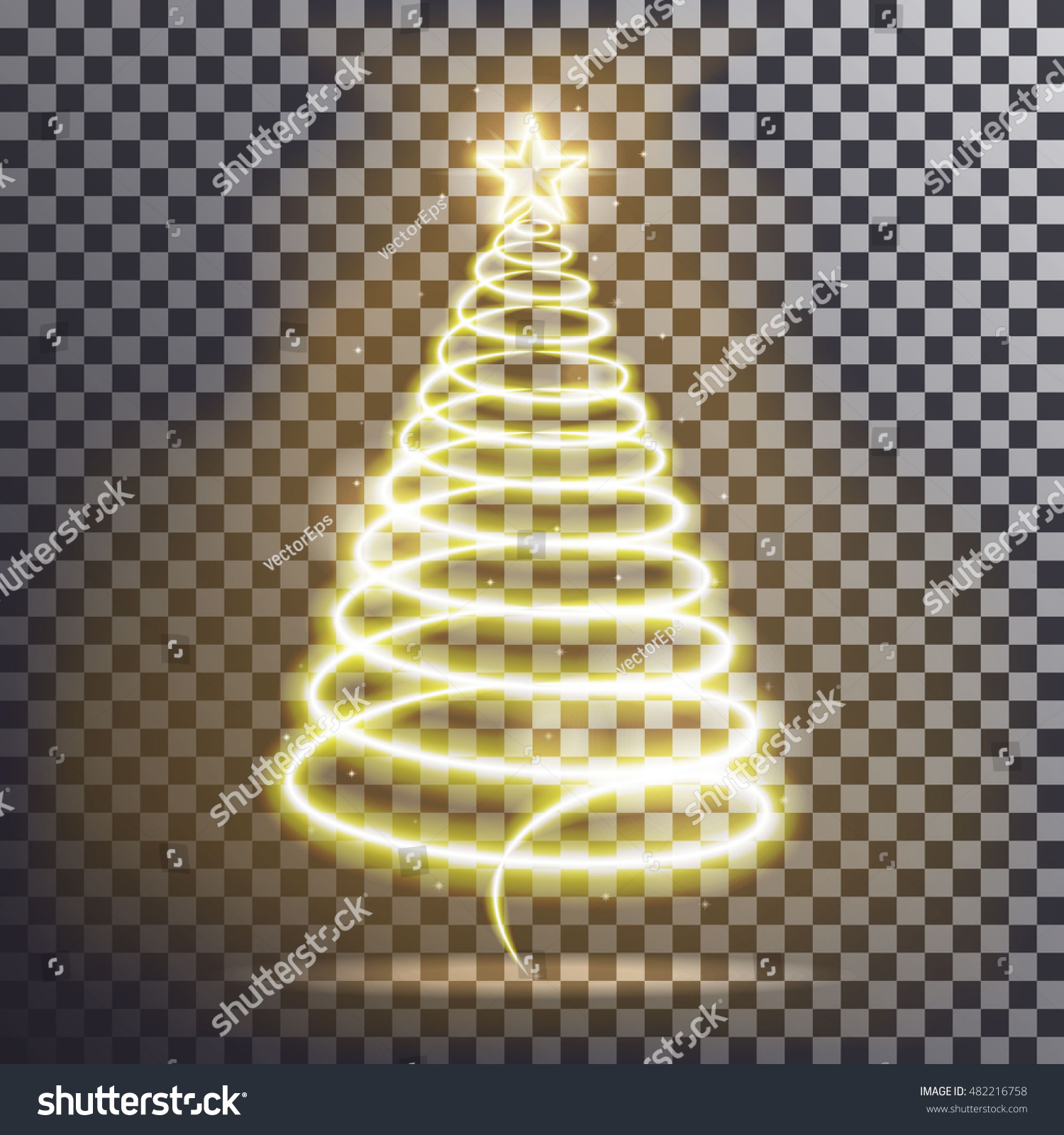 Golden Christmas Tree Vector Light Effect Stock Vector Royalty Free
