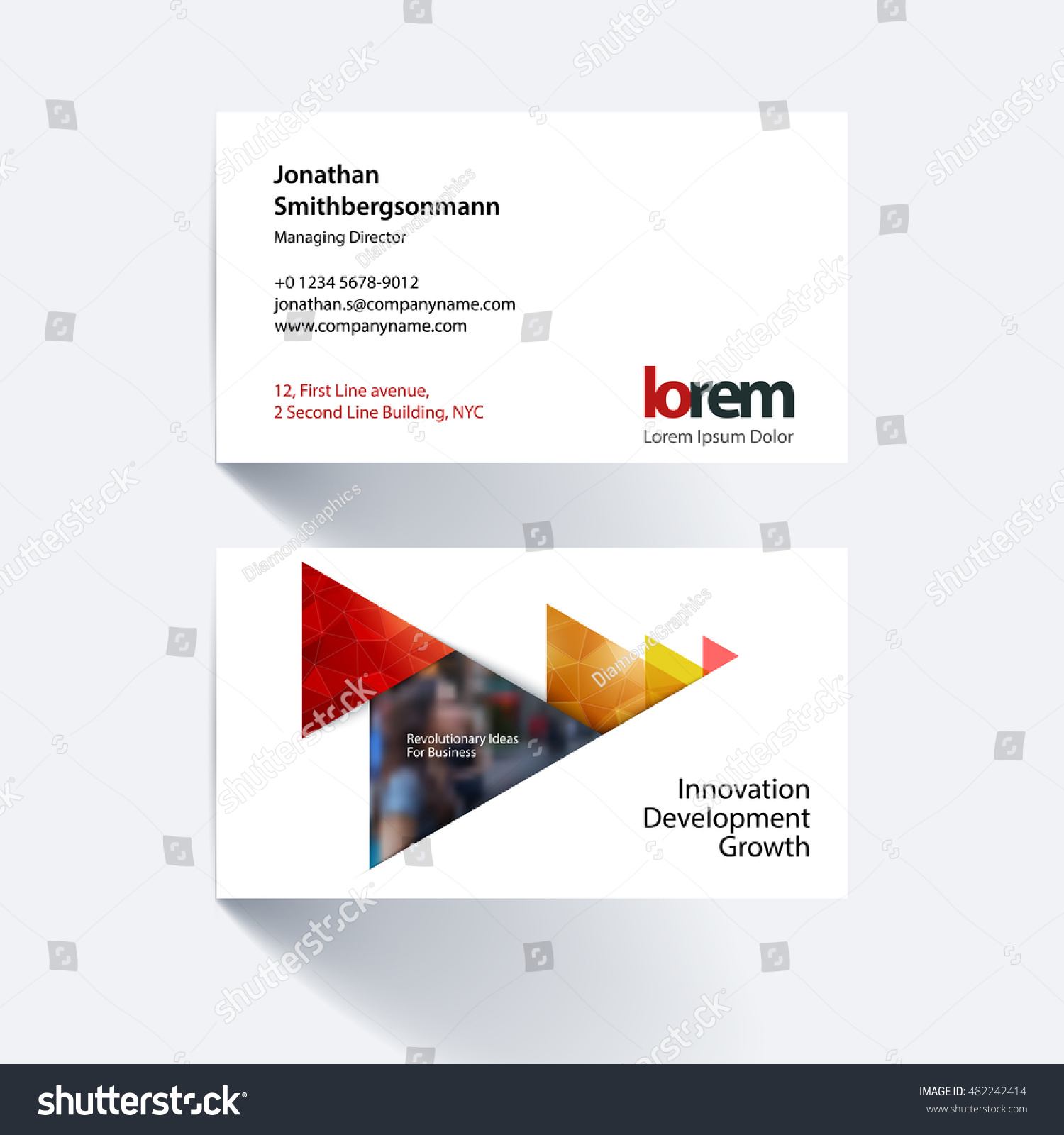 Vector Business Card Template Red Moving Stock Photo (Photo, Vector ...