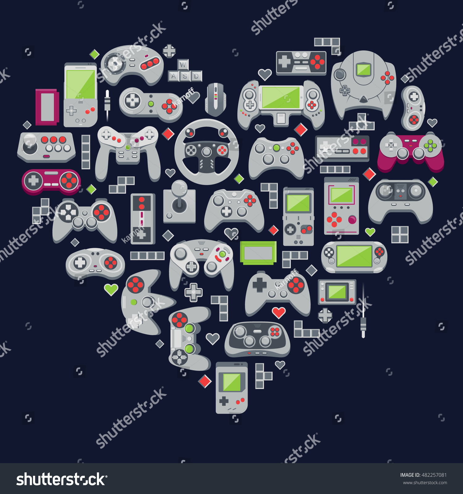 Love video games. Flat design vector illustration concept of game  environment and devices.