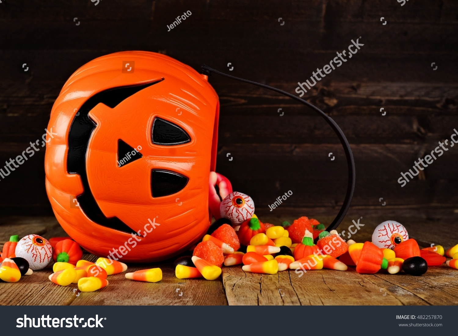 halloween jack o lantern candy holder stock photo (edit now
