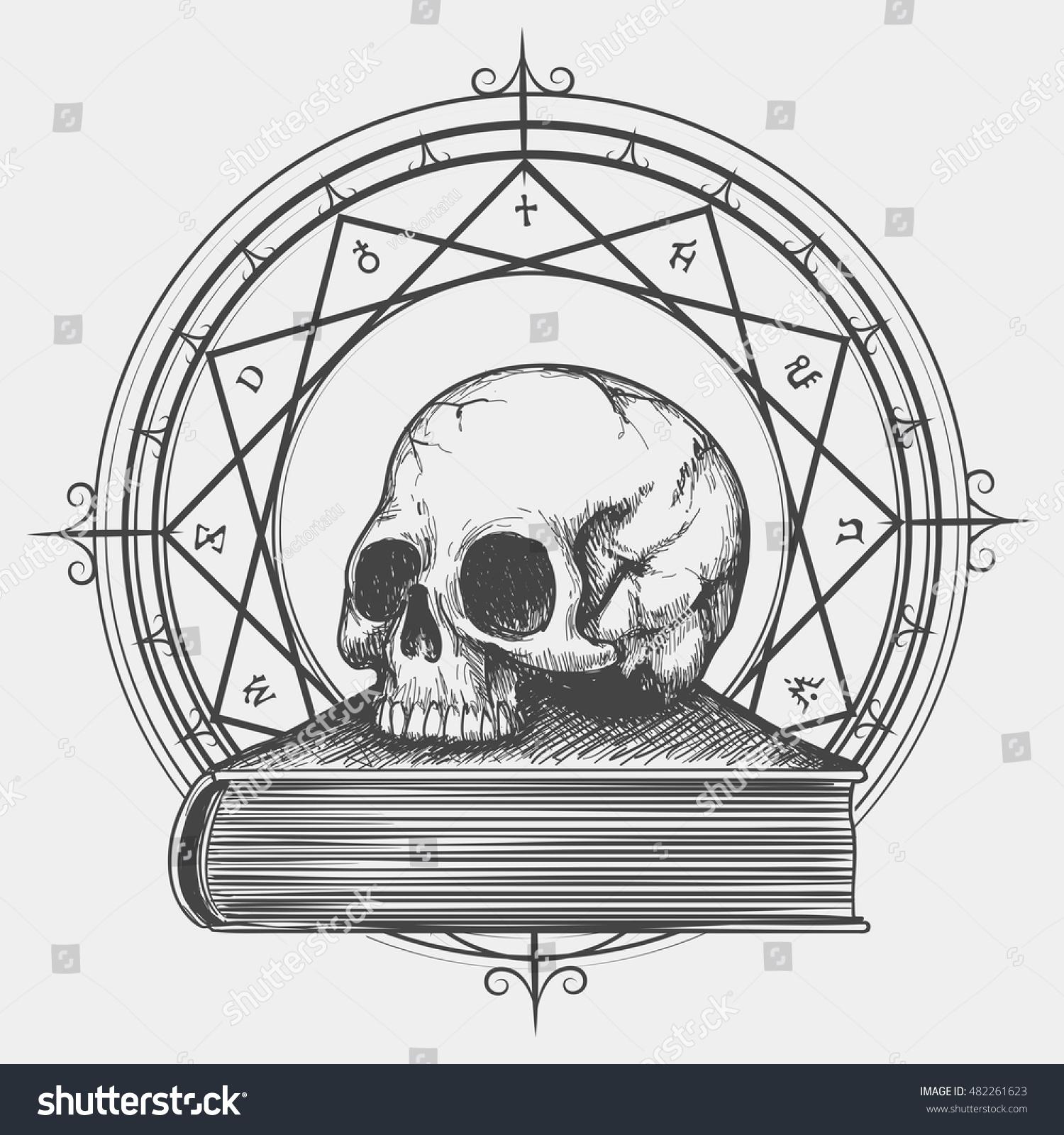 Magic Book Sketch Esoteric Concept Human Stock Vector (Royalty Free
