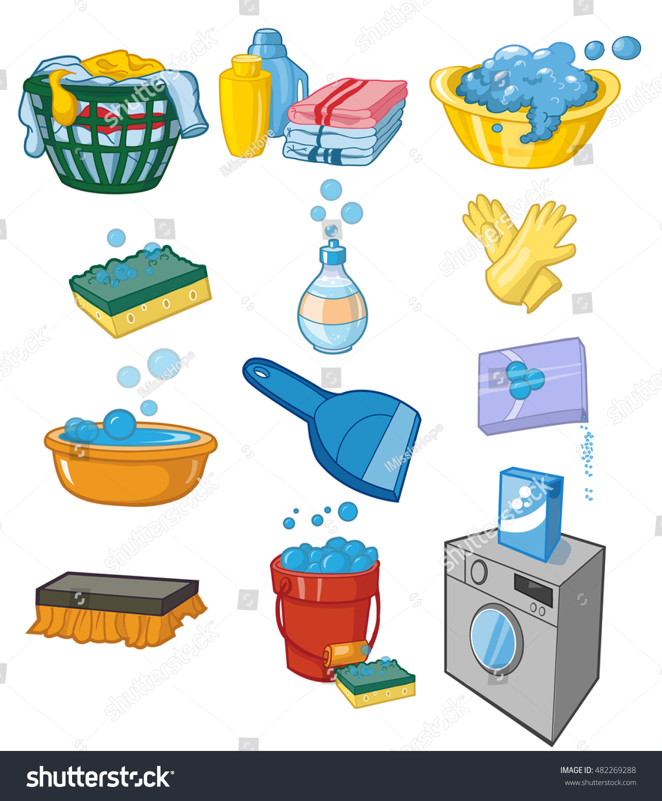 Laundry Detergent Clipart washing laundry set vector clip art stock vector 482269288