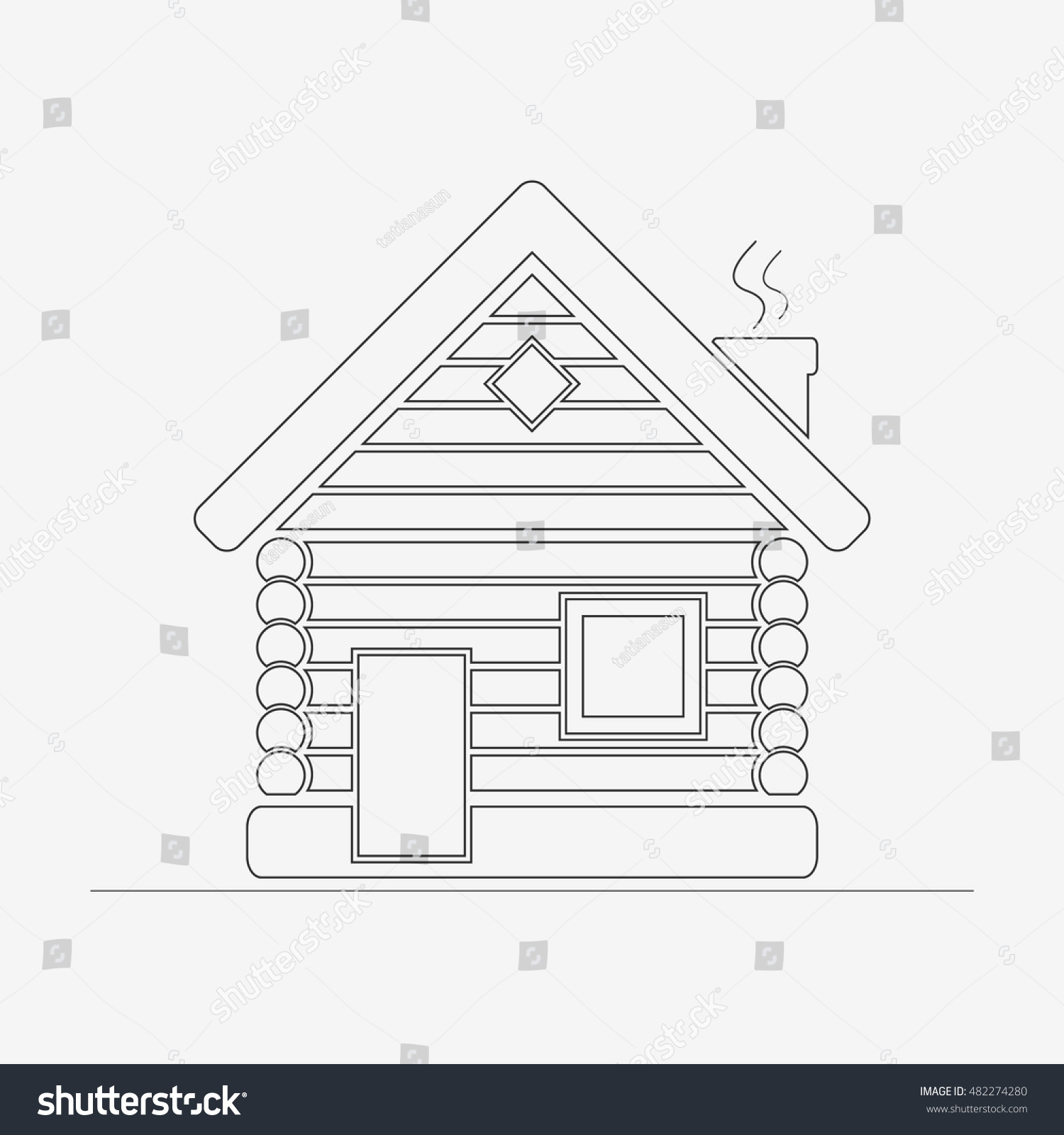 Wooden House Contour Icon Timbered And Wood Home Outline Sign Children Coloring Page
