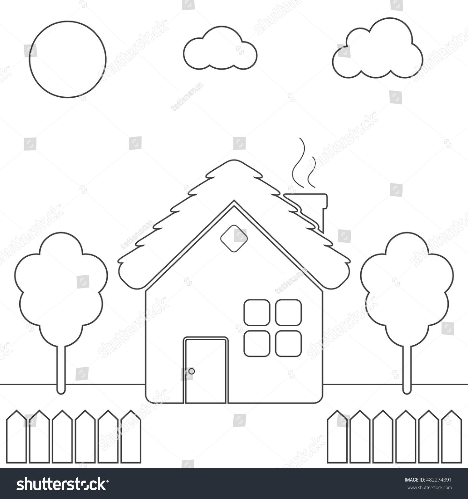 Childrens coloring house - Children S Coloring Page With Country House Yard Fence Tree Sky Coloring