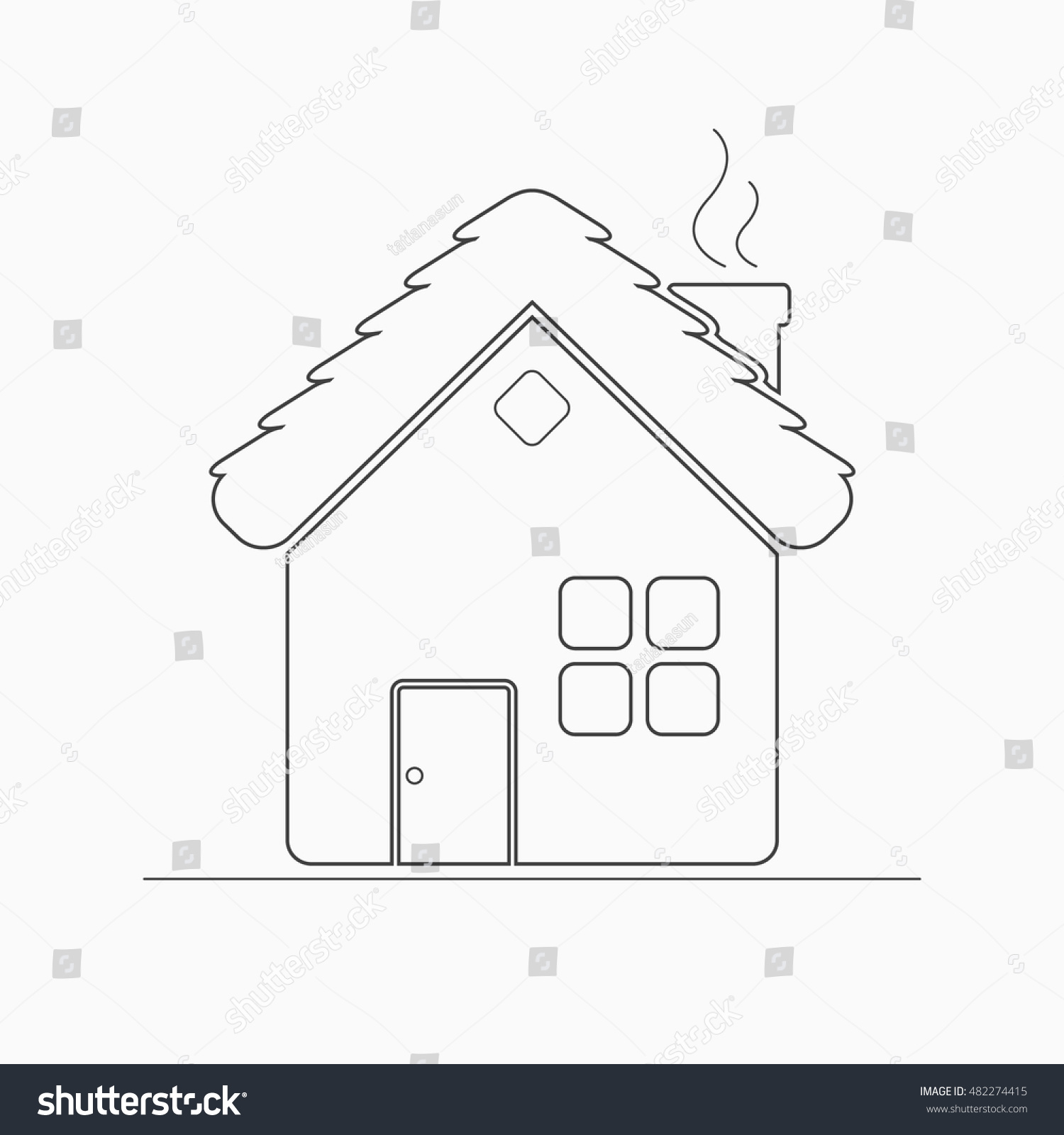 House outline picture - Village House Outline Icon Rural Or Country Home Sign Hildren S Coloring Page