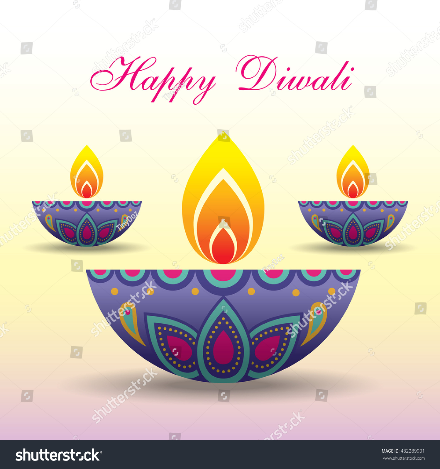 Diwali Deepavali Greeting Beautiful Burning Diwali Stock Vector