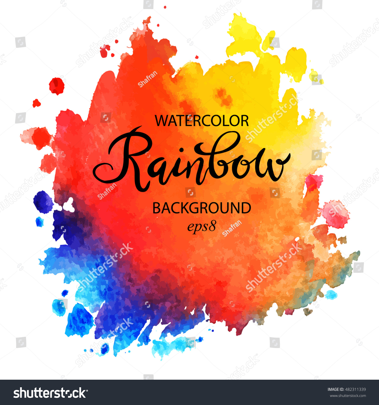 Hand painted mermaid watercolor vector silhouette stock vector - Watercolor Hand Paint Rainbow Spot Vector Artistic Illustration Isolated On White Background Colorful Multicolor