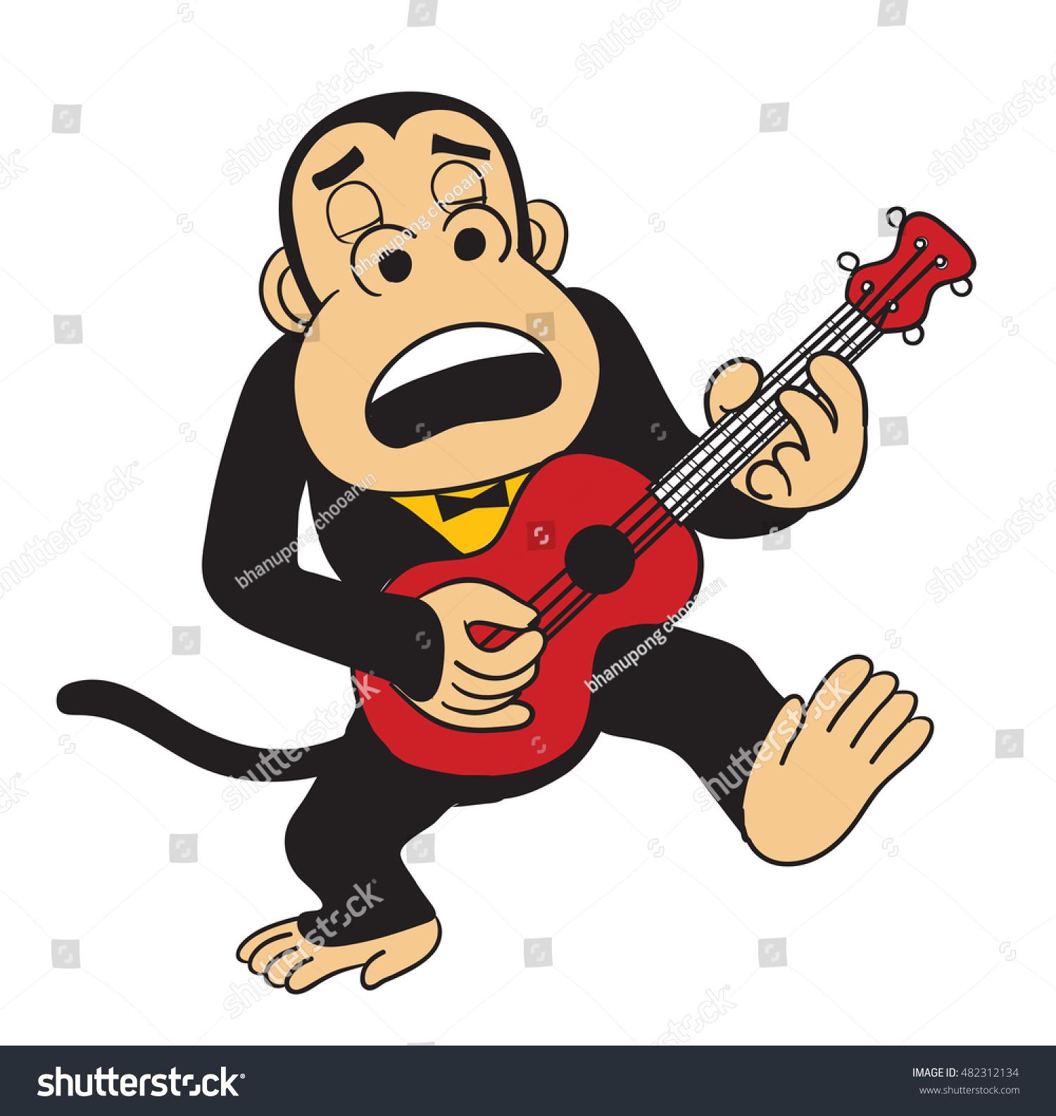 Monkey Playing Ukulele Vector Stock Vector Royalty Free 482312134