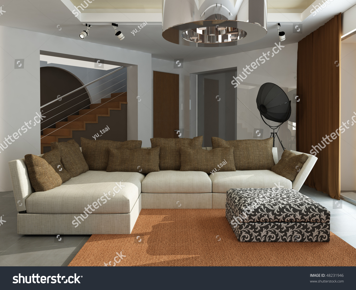 Interior modern drawingroom 3d rendering 5000x3750 stock for 3d bedroom drawing