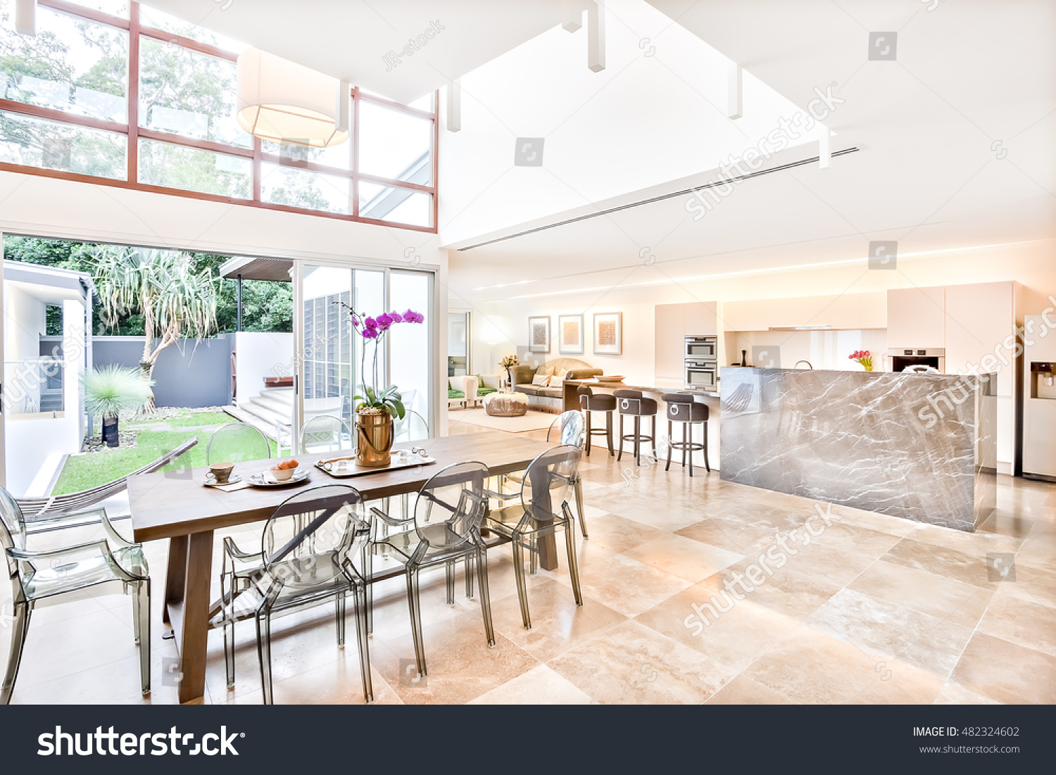 Modern House Interior And Outdoor Including Dining Kitchen Beside Living Room The Or