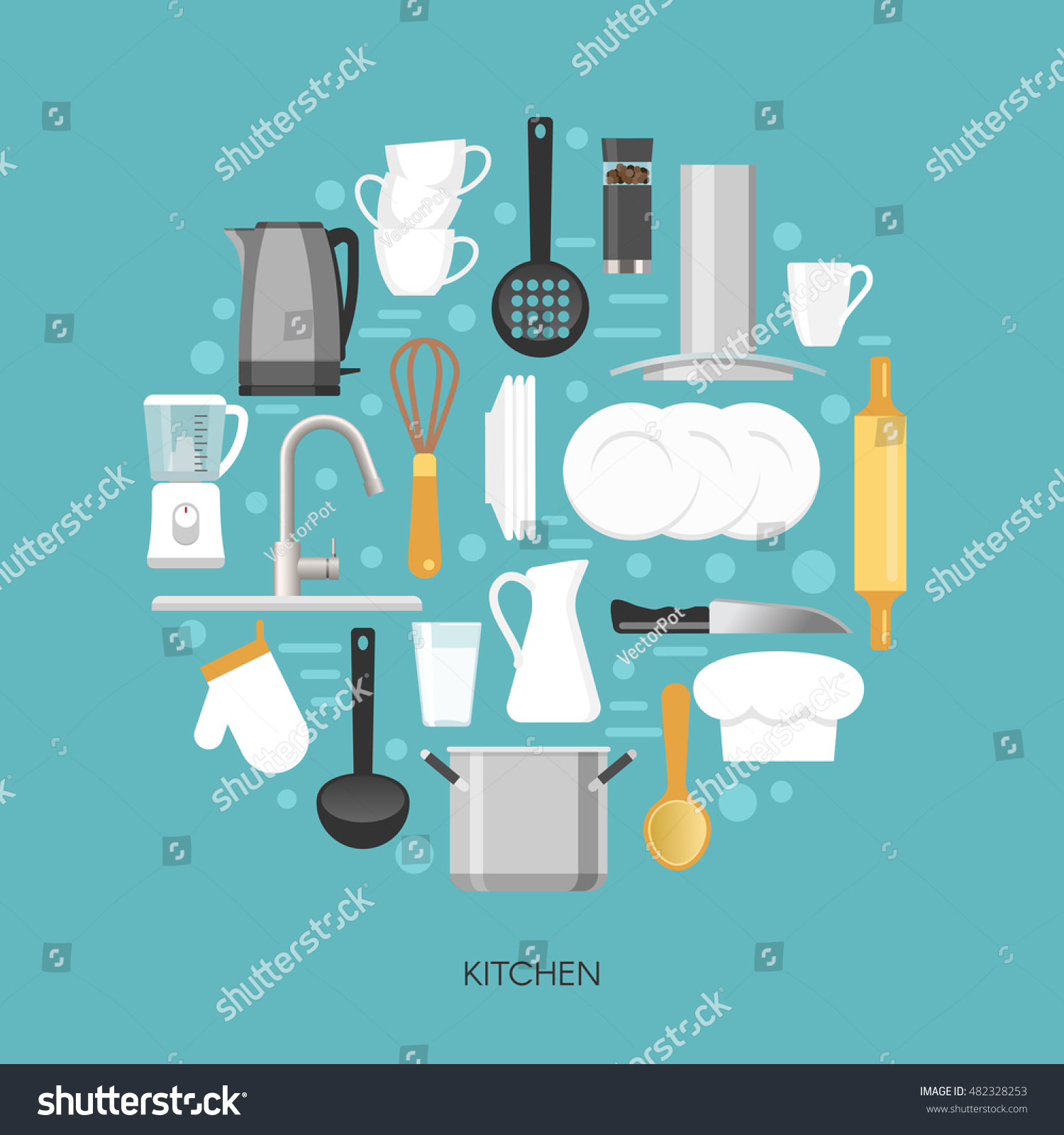 Kitchen Round Composition Household Appliances Faucet Stock Vector ...