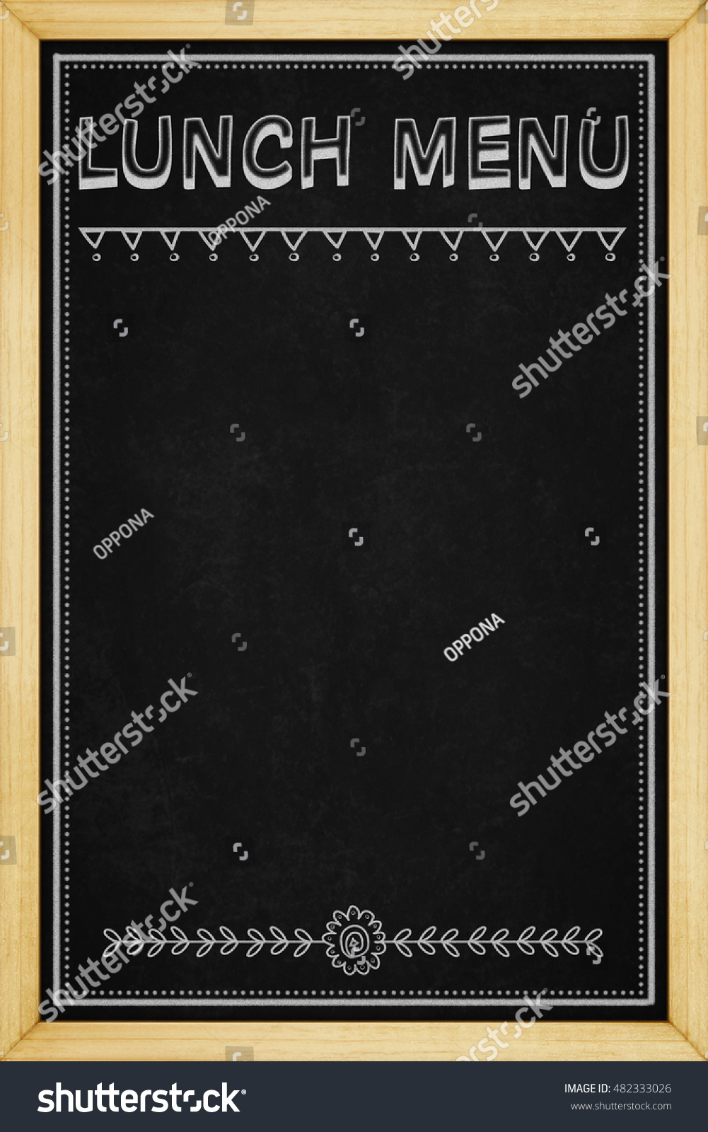 lunch menu sign blackboard wooden frame stock illustration 482333026