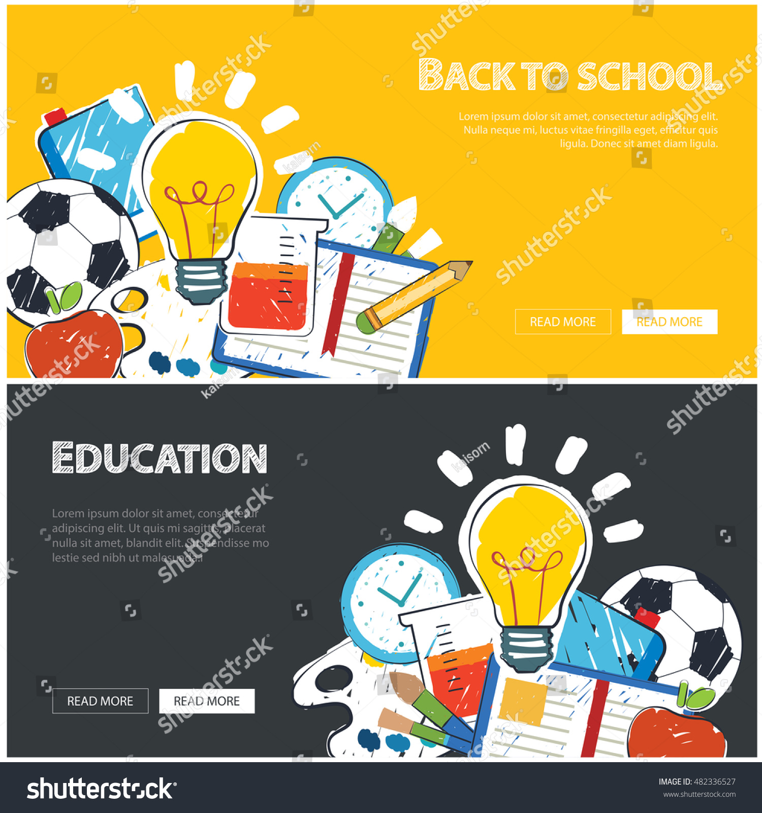 Education Banner Back School Background Template Stock Vector Royalty Free 482336527