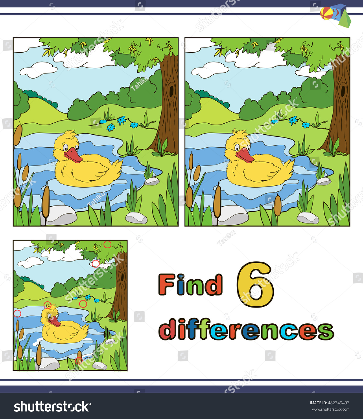 Illustration Find Differences Educational Puzzle Game Stock Vector
