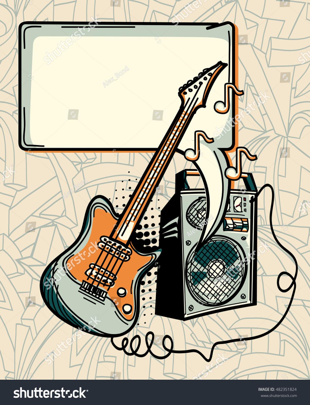 Music Design Guitar Amplifier Speech Bubble Stock Vector Royalty Box And