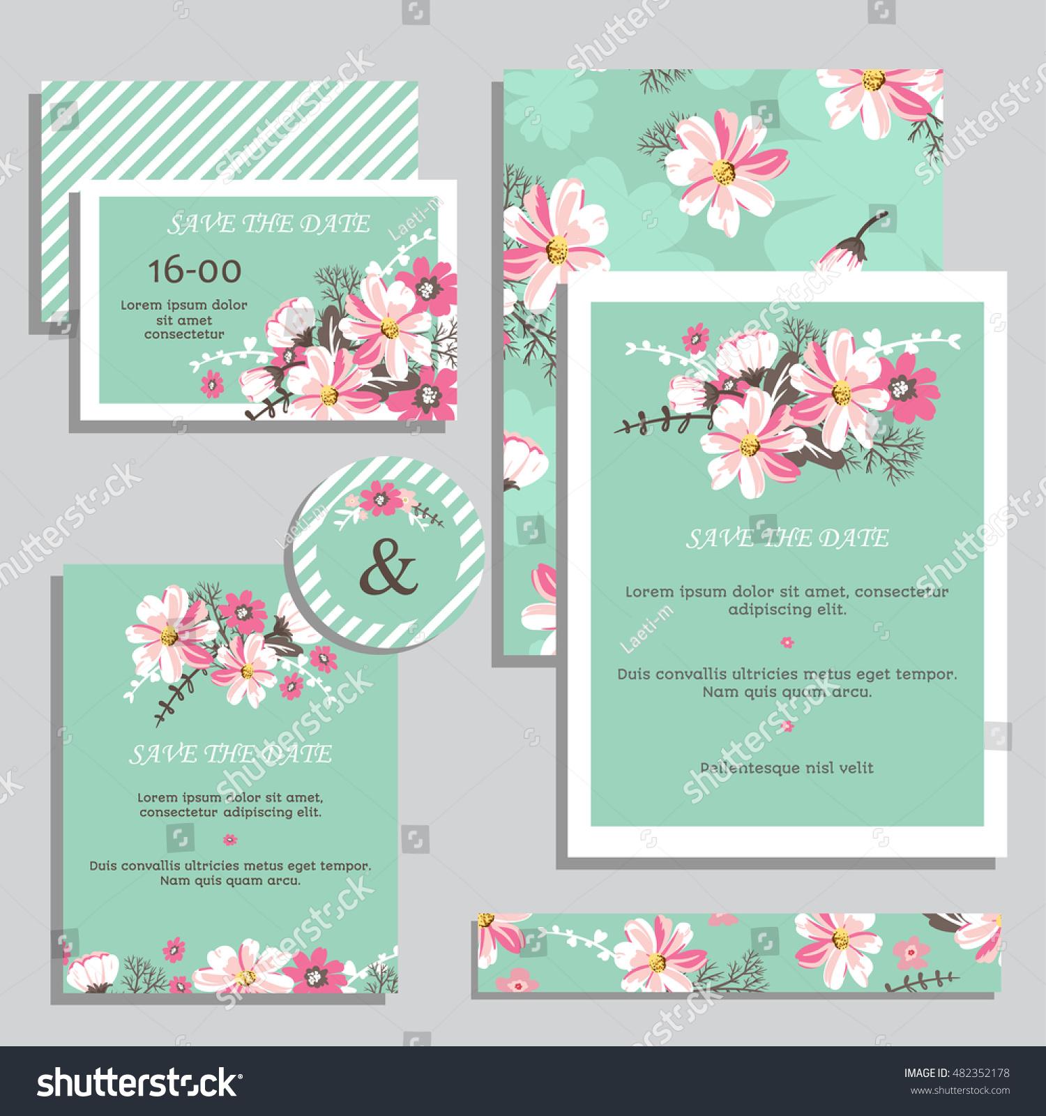 Vintage Wedding Invitation Set Design Template Stock Vector (2018 ...