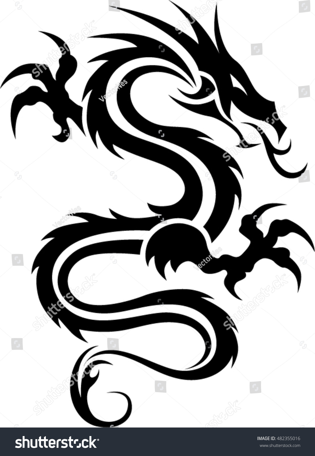 dragon tattoo tribal dragon black white stock vector