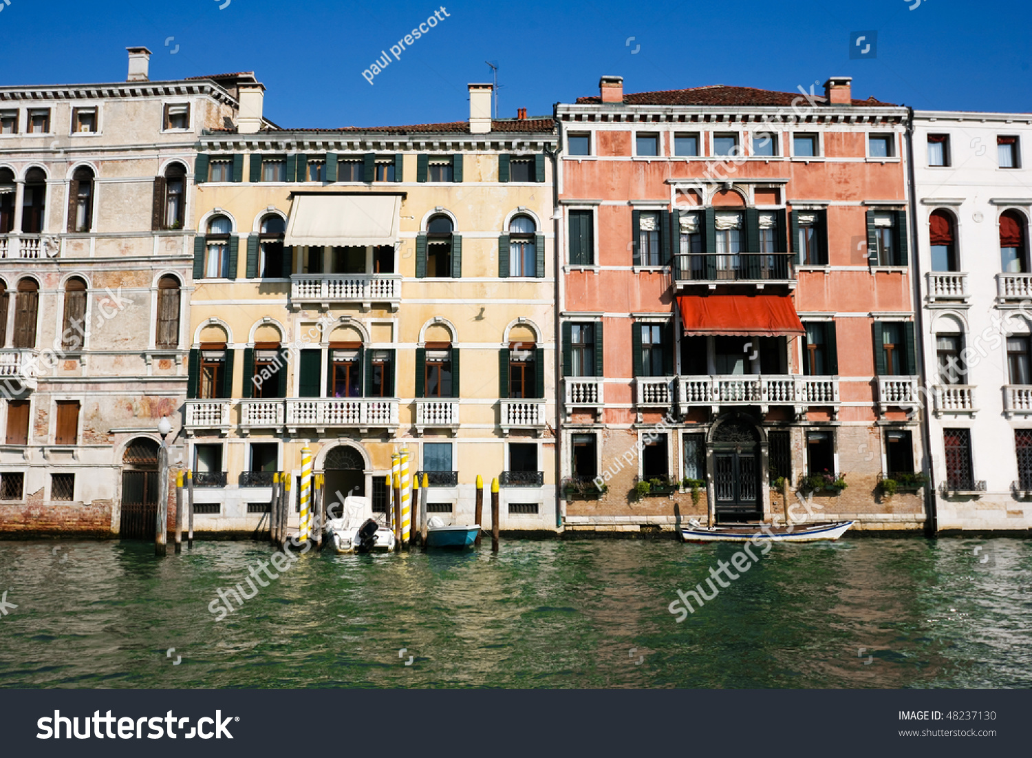 colourful weathered facades old venetian buildings stock