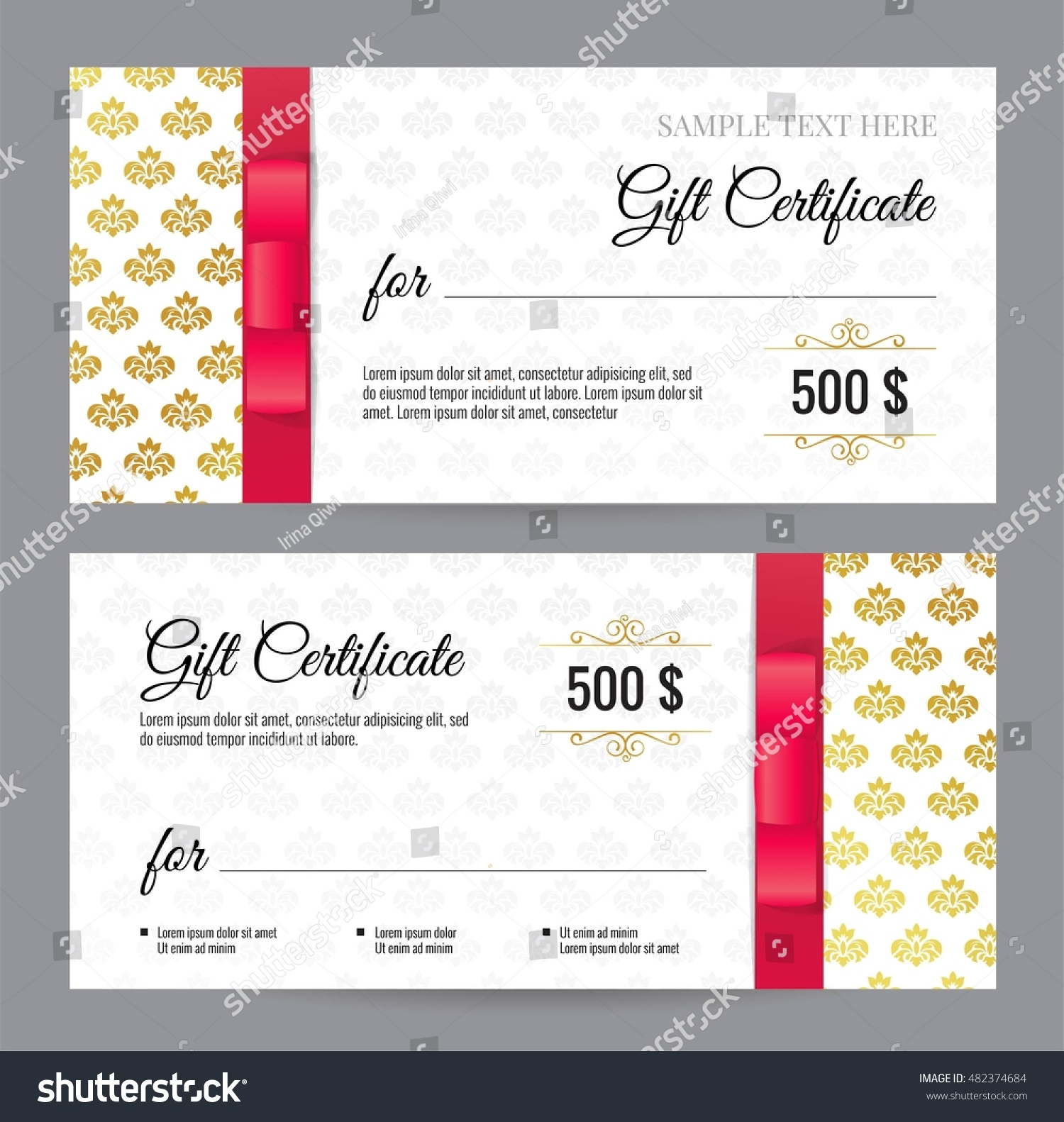 Gift Voucher Template Floral Pattern Red Stock Vector Royalty Free