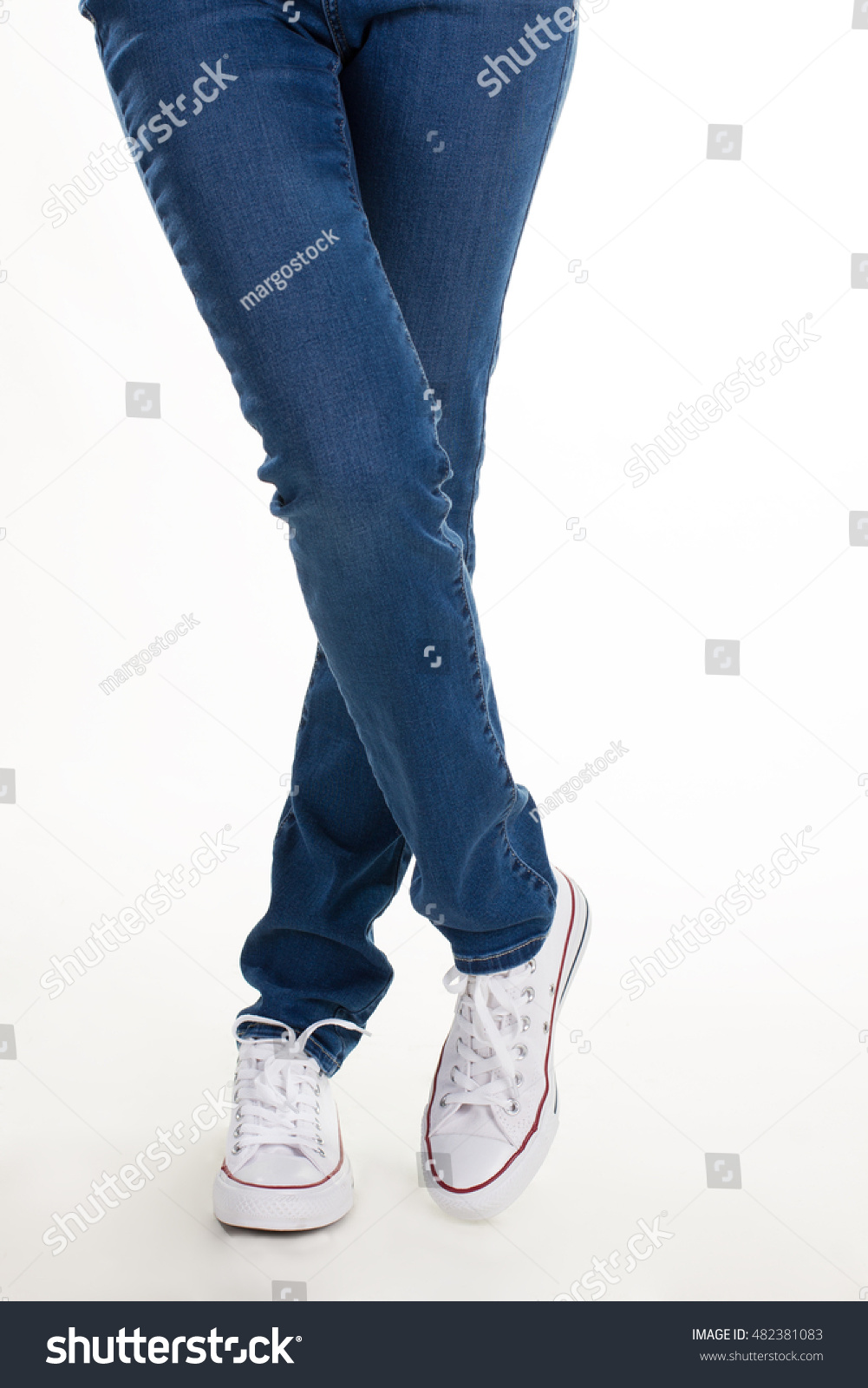 Womens Legs Jeans White Sneakers Casual Stock Photo Edit Now