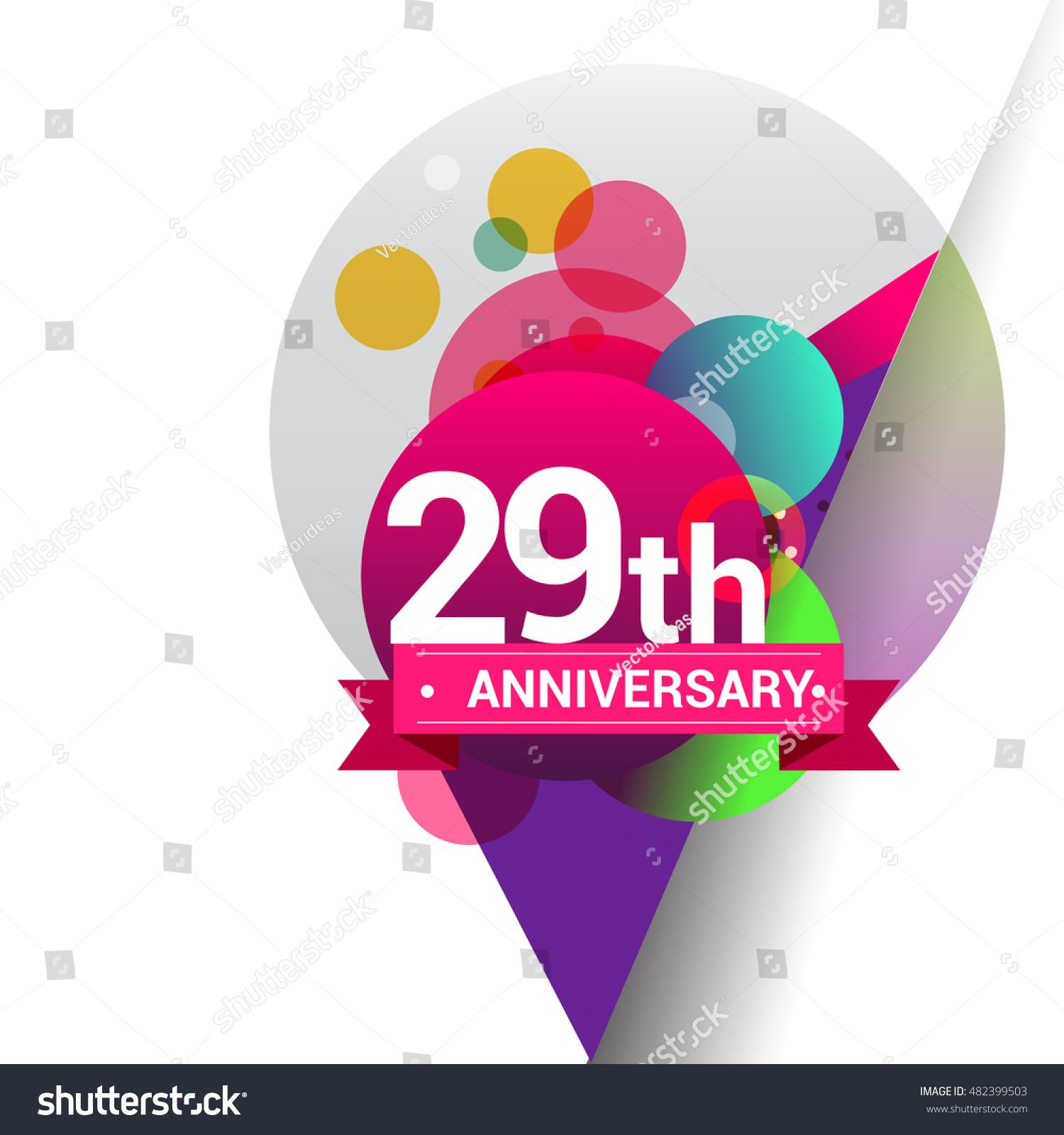 29th Anniversary Logo Colorful Geometric Background Stock Vector ...