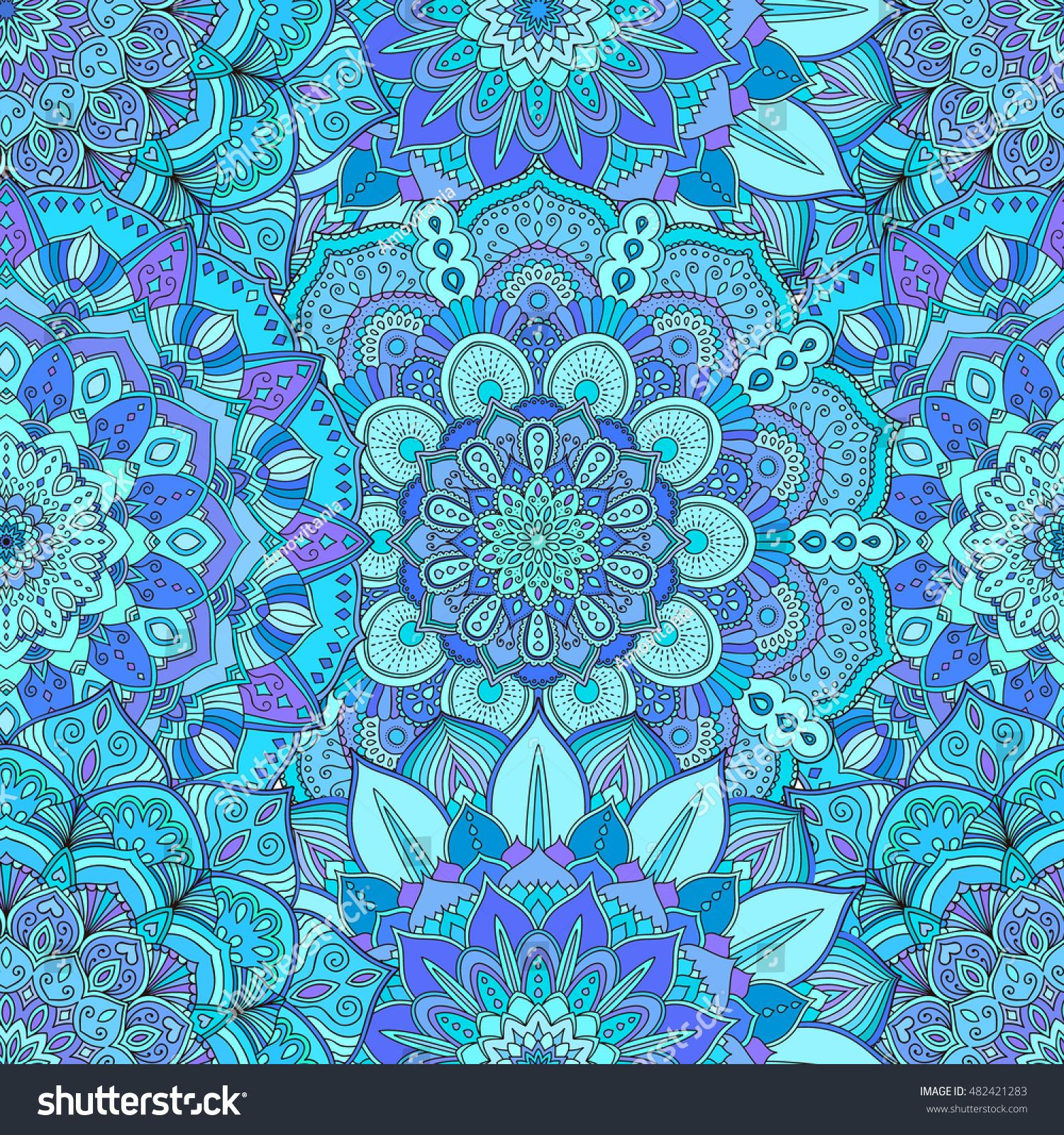 Vector Flower Pattern Seamless Blue Background Stock Vector