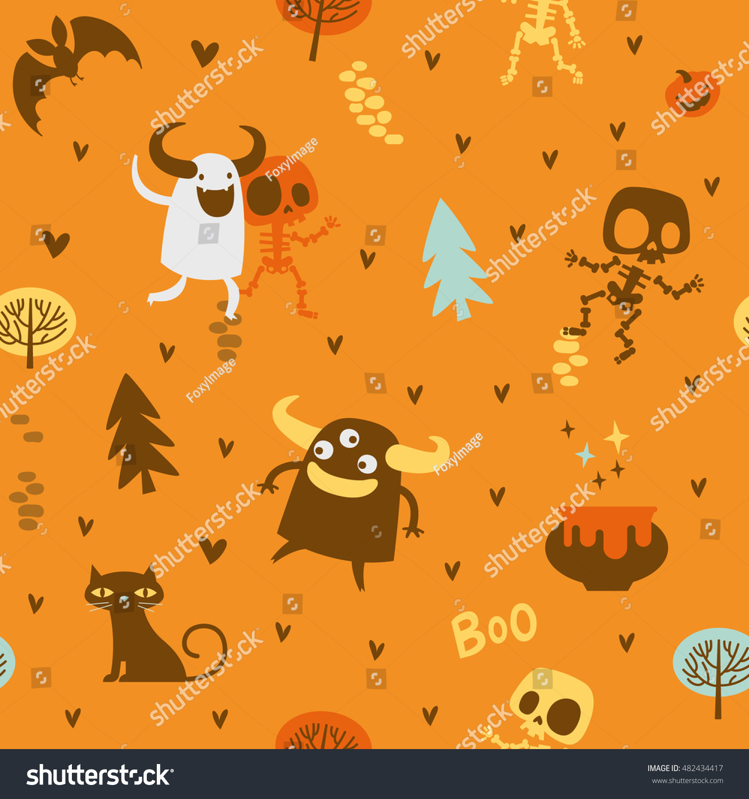 Halloween Theme Pattern Cute Skeletons Monsters Stock Vector ...