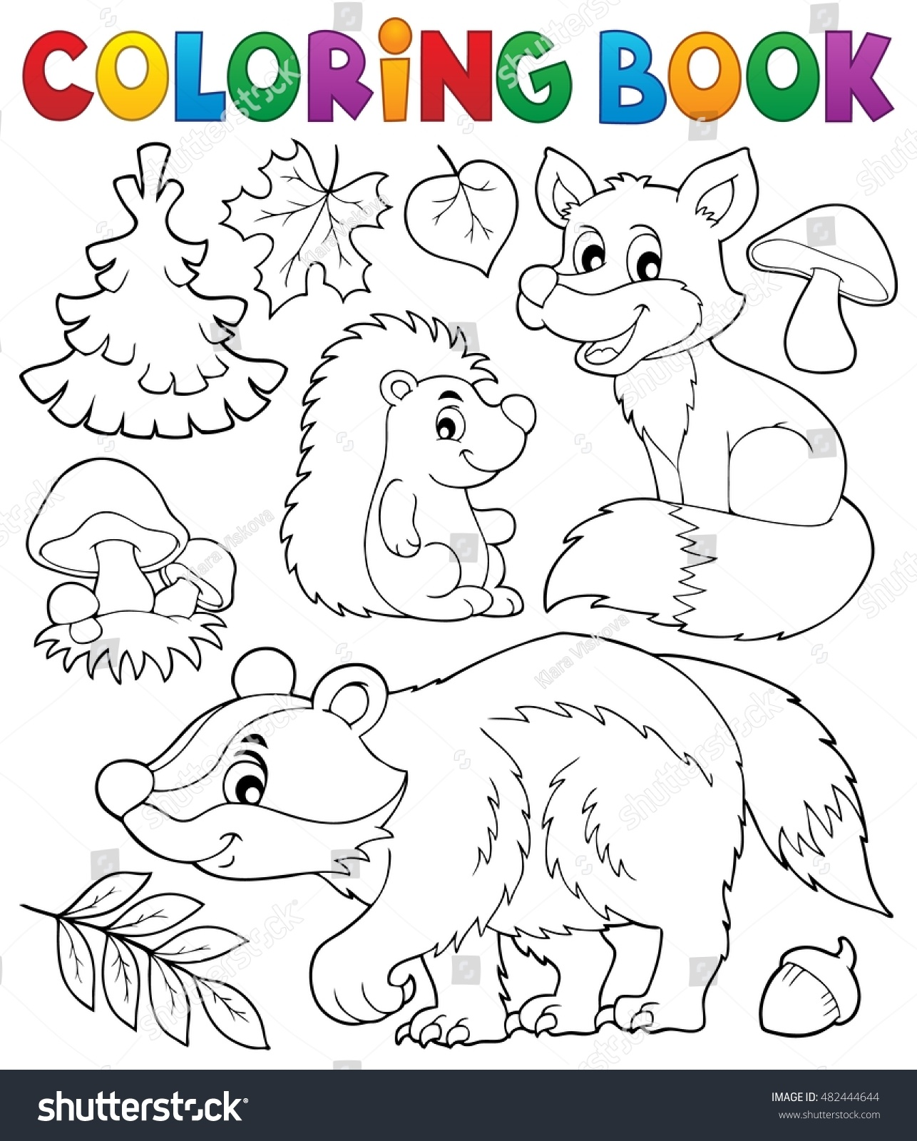 coloring book forest wildlife theme 1 stock vector 482444644