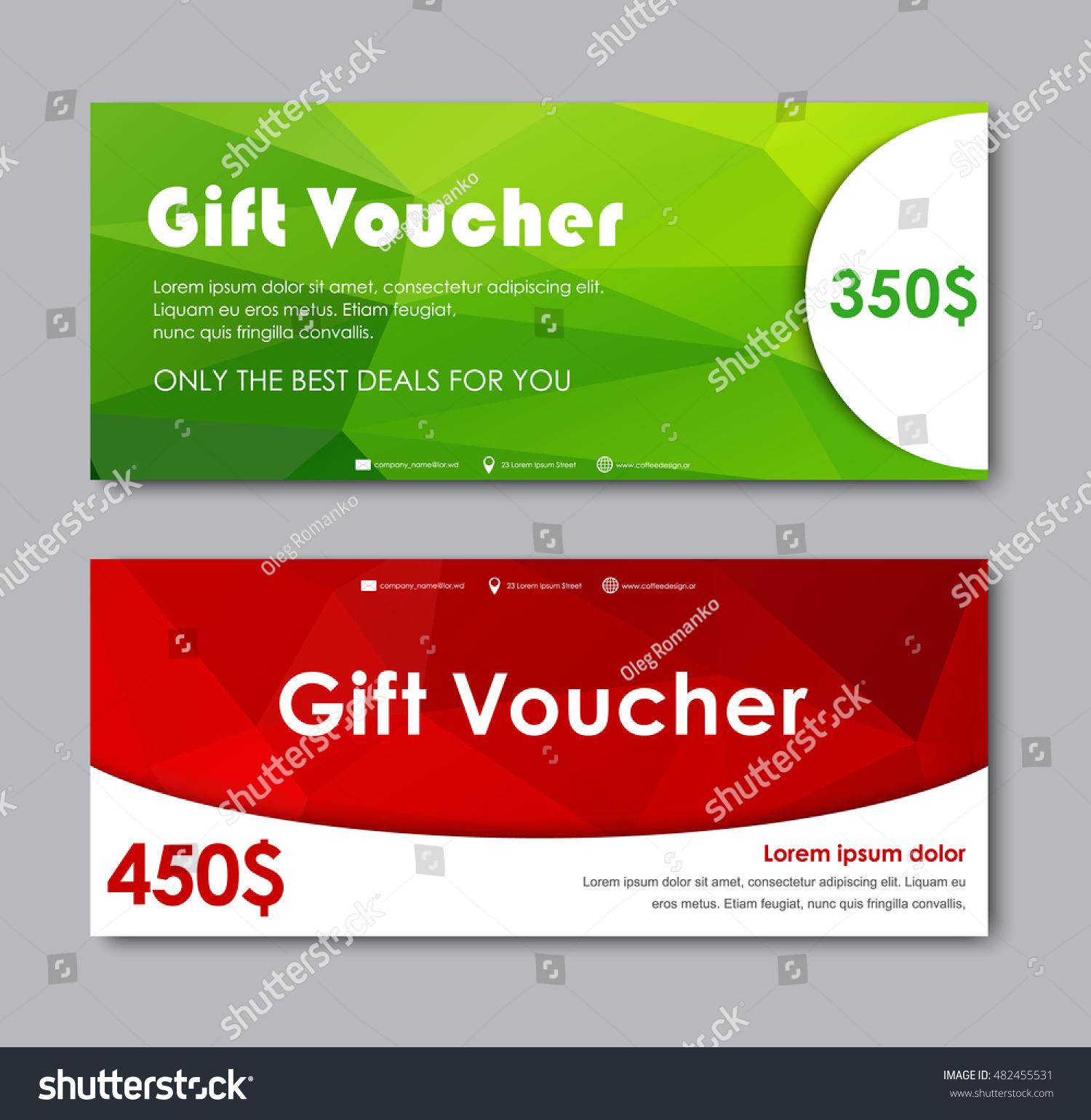 Set Gift Vouchers Templates Red Green Stock Vector 482455531