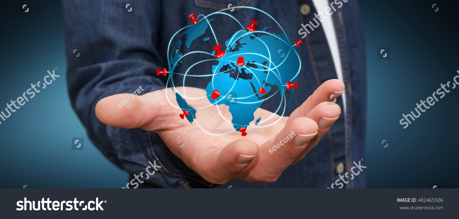 Businessman digital world map pins floating stock photo edit now businessman with digital world map and pins floating over his hand 3d rendering gumiabroncs Choice Image