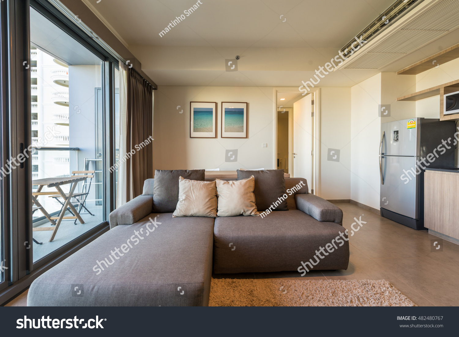 Beautiful modern living room interior blue stock photo for Living room with balcony interior