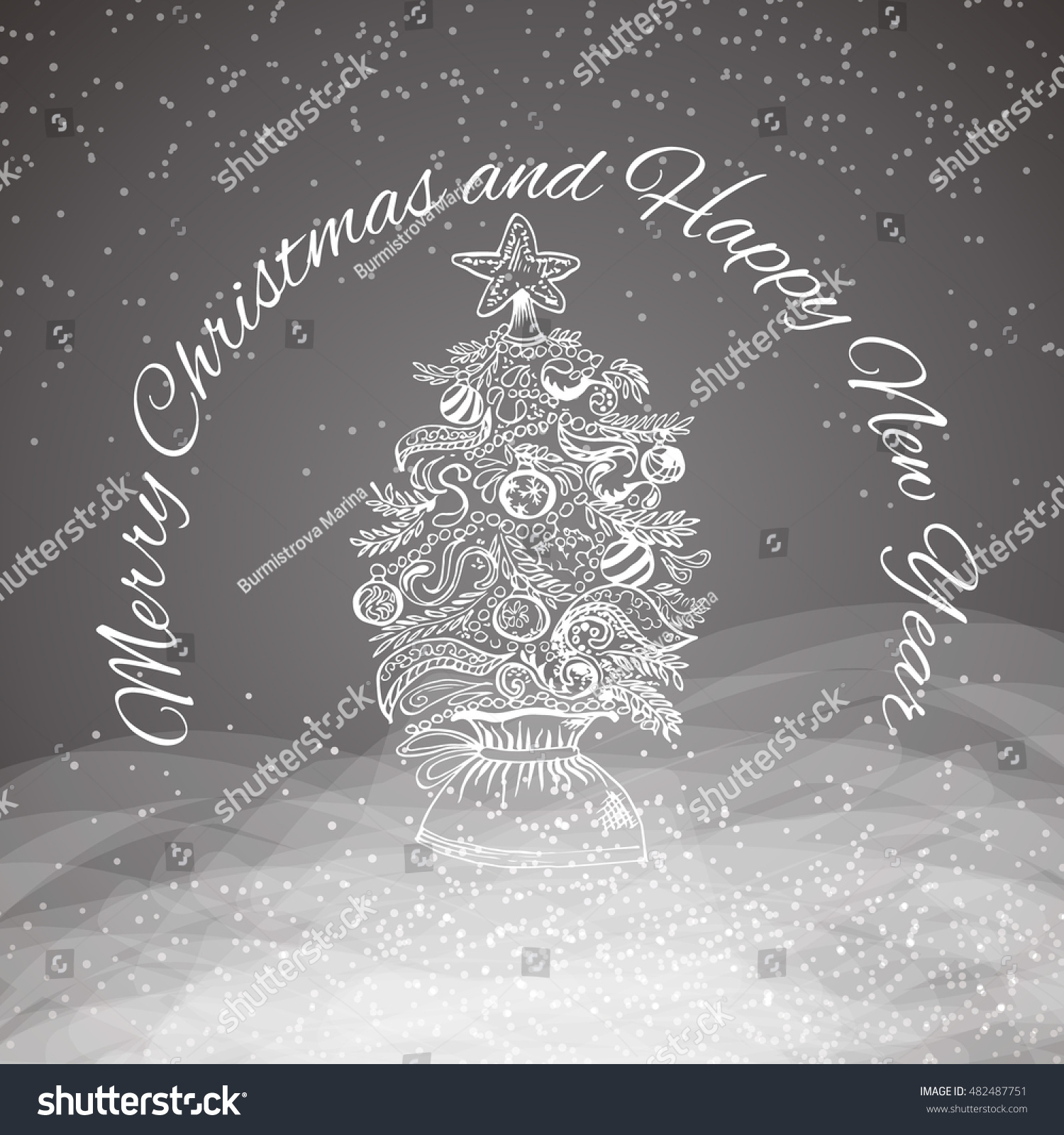 Merry Christmas Greeting Card Vector Illustration Stock Vector