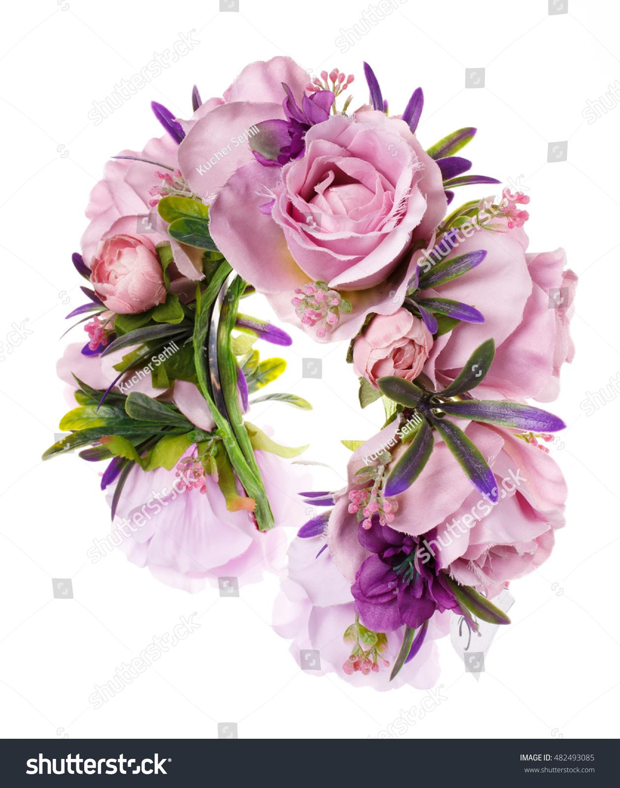 Hoop flowers wreath colored flowers handmade stock photo royalty hoop from flowers wreath with colored flowers handmade flowers wreath on white accessory mightylinksfo