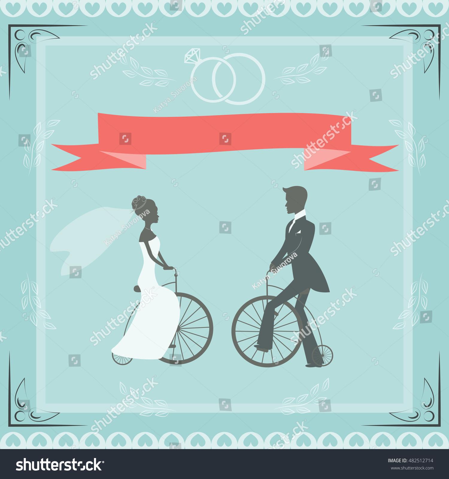 Wedding Illustration Greetings Retro Illustration Newlymarried Stock