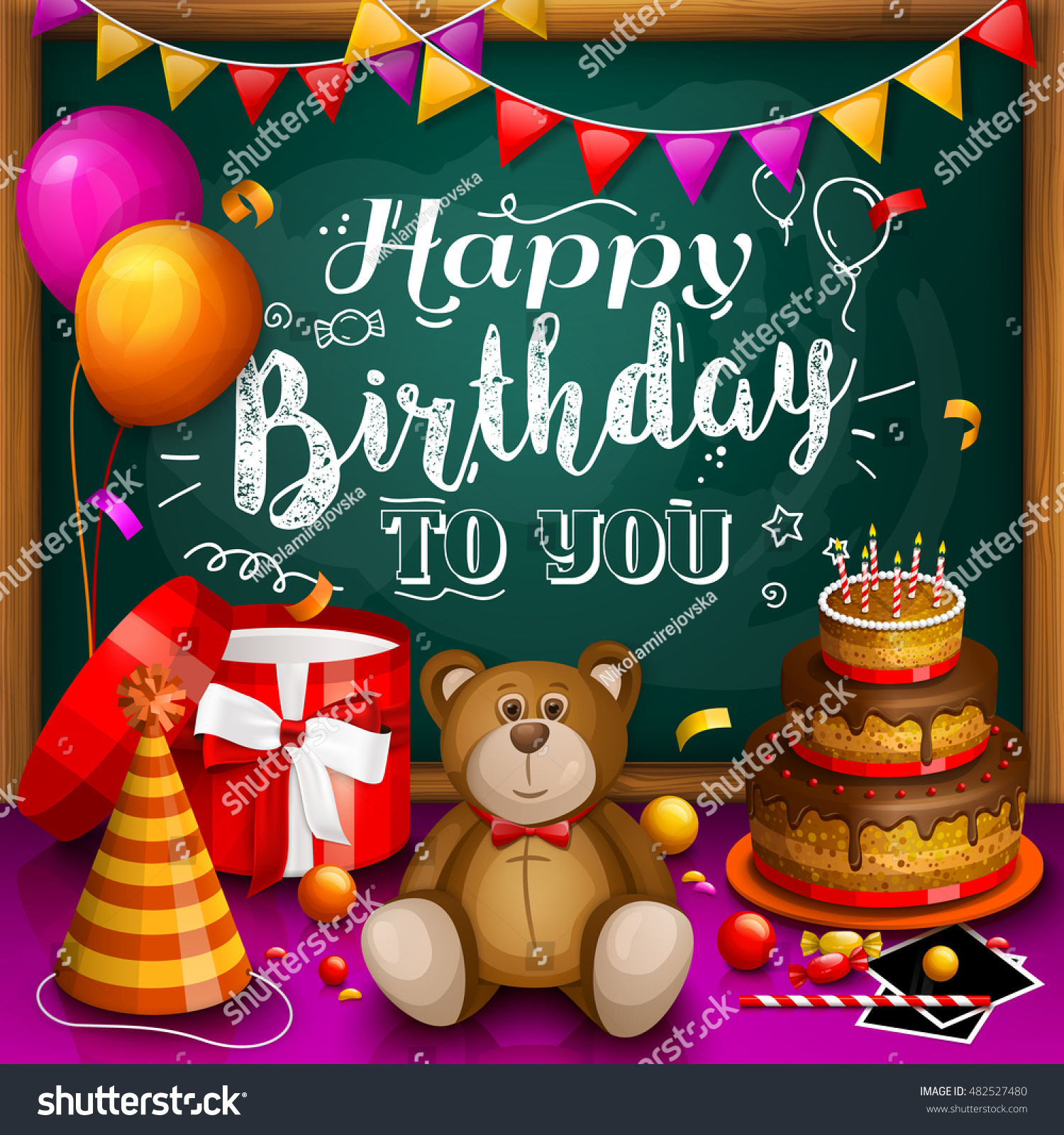 Happy Birthday Greeting Card Colorful Gift Stock Vector 482527480 ...