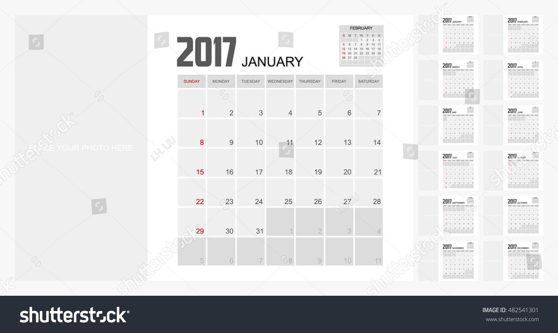 Calendar Organizer Design : Calendar planner design stock vector