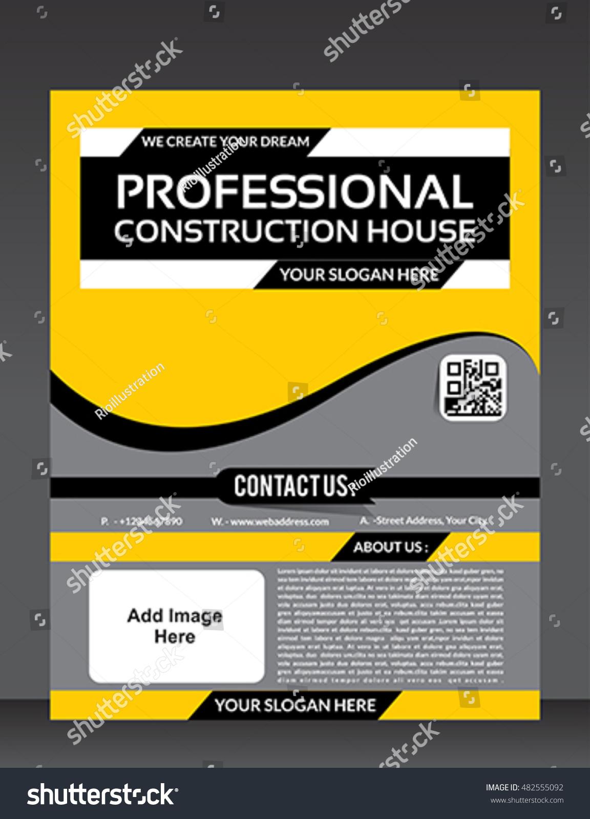 construction flyer template design vector illustration stock vector