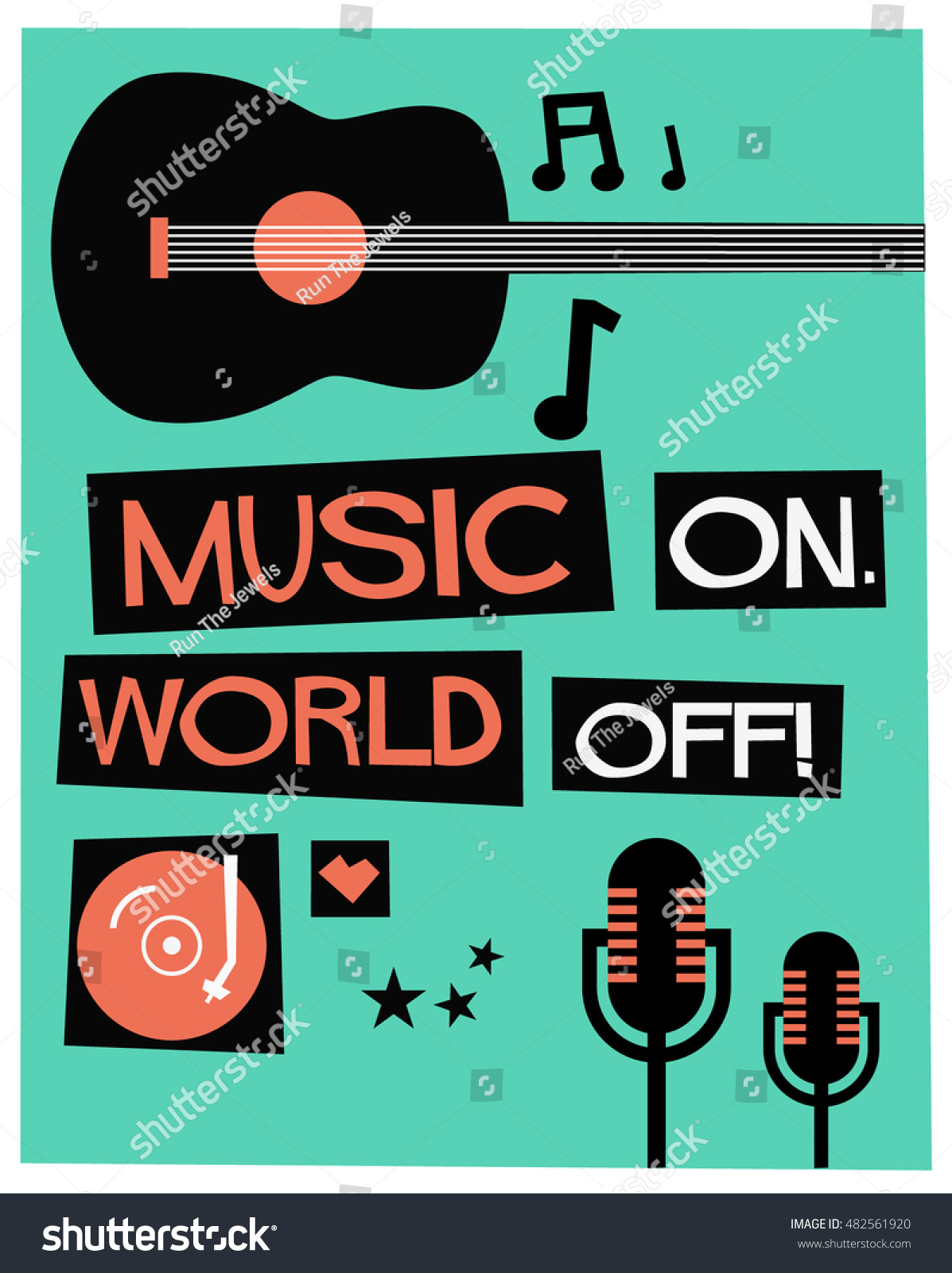 we love music flat style vector stock vector 482561920 shutterstock. Black Bedroom Furniture Sets. Home Design Ideas