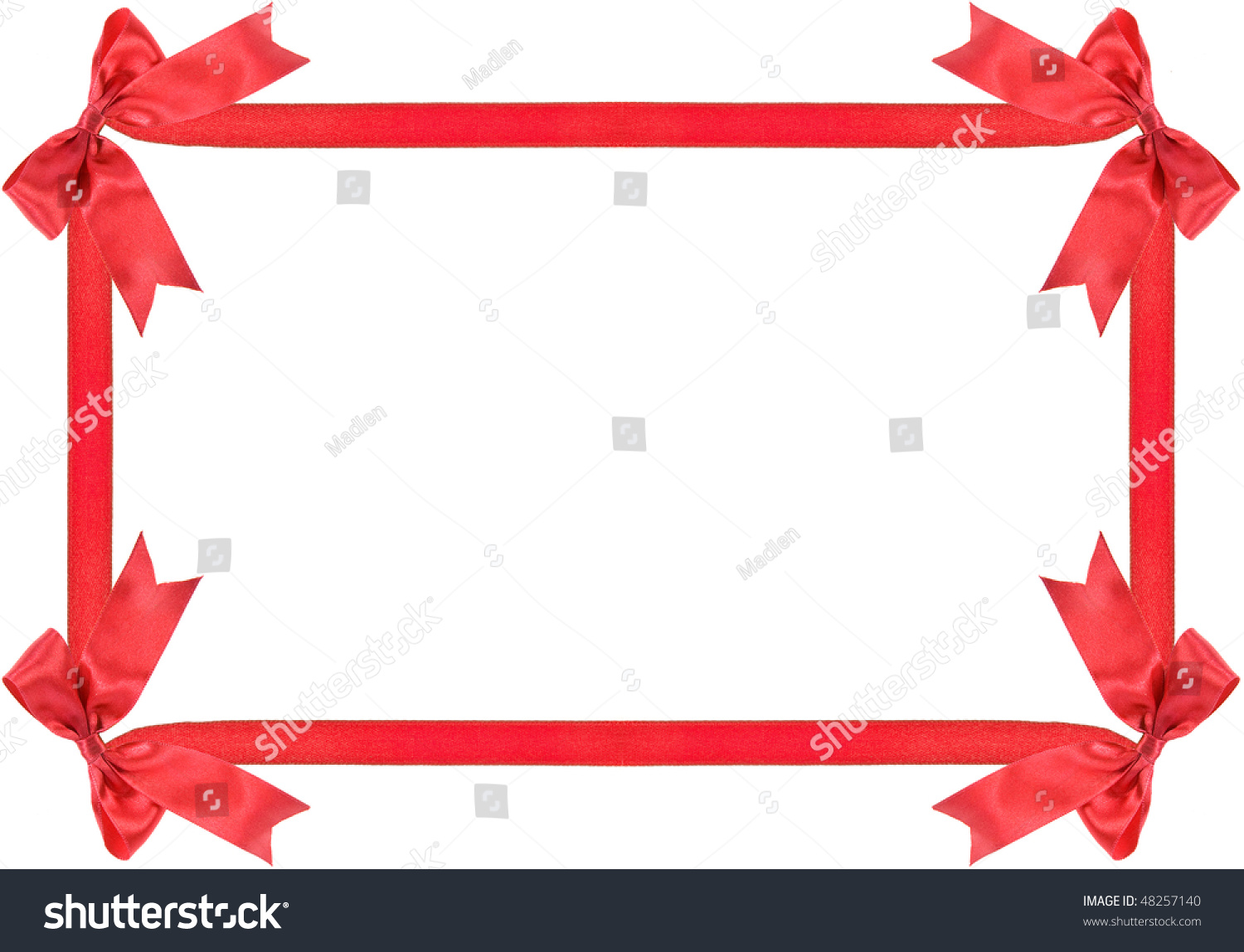 Red gift bows border with clipping path for easy background removing - Red Ribbon Bow Frame With Copy Space For Your Text