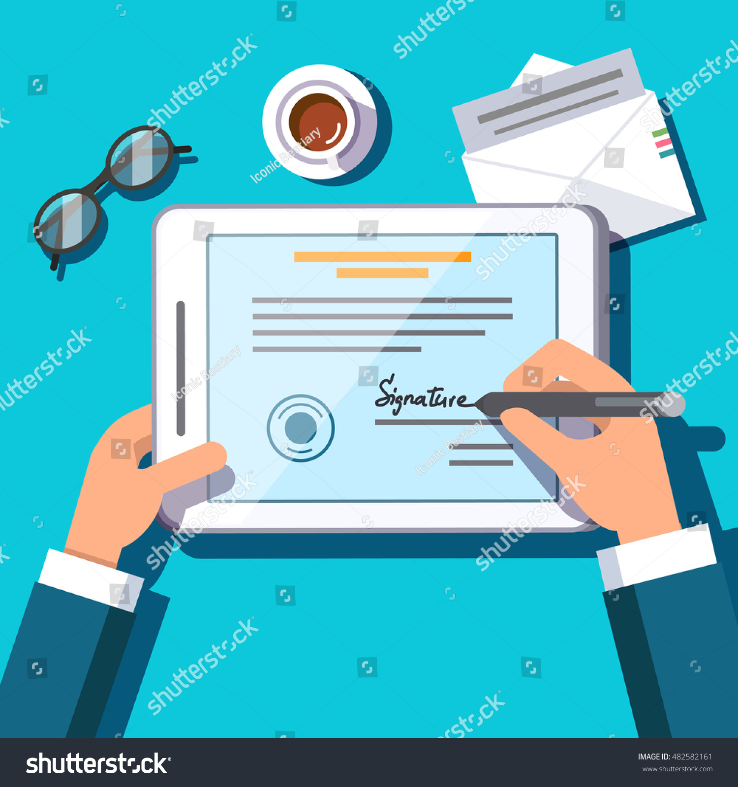 Business Man Writing Electronic Signature On Stock Vector